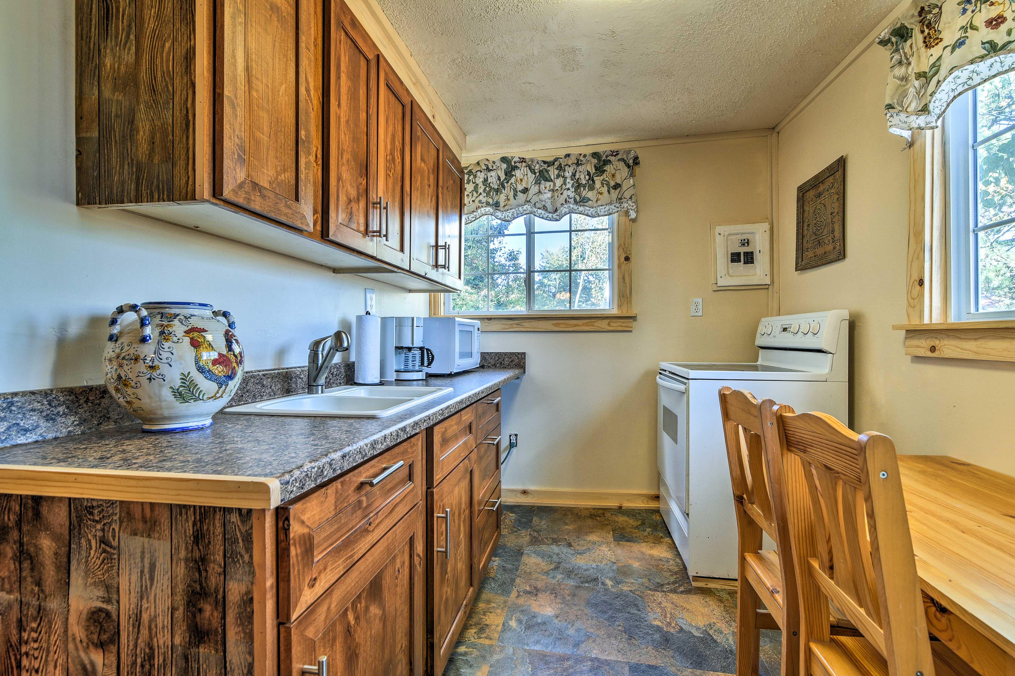 The kitchen gets plenty of natural light.