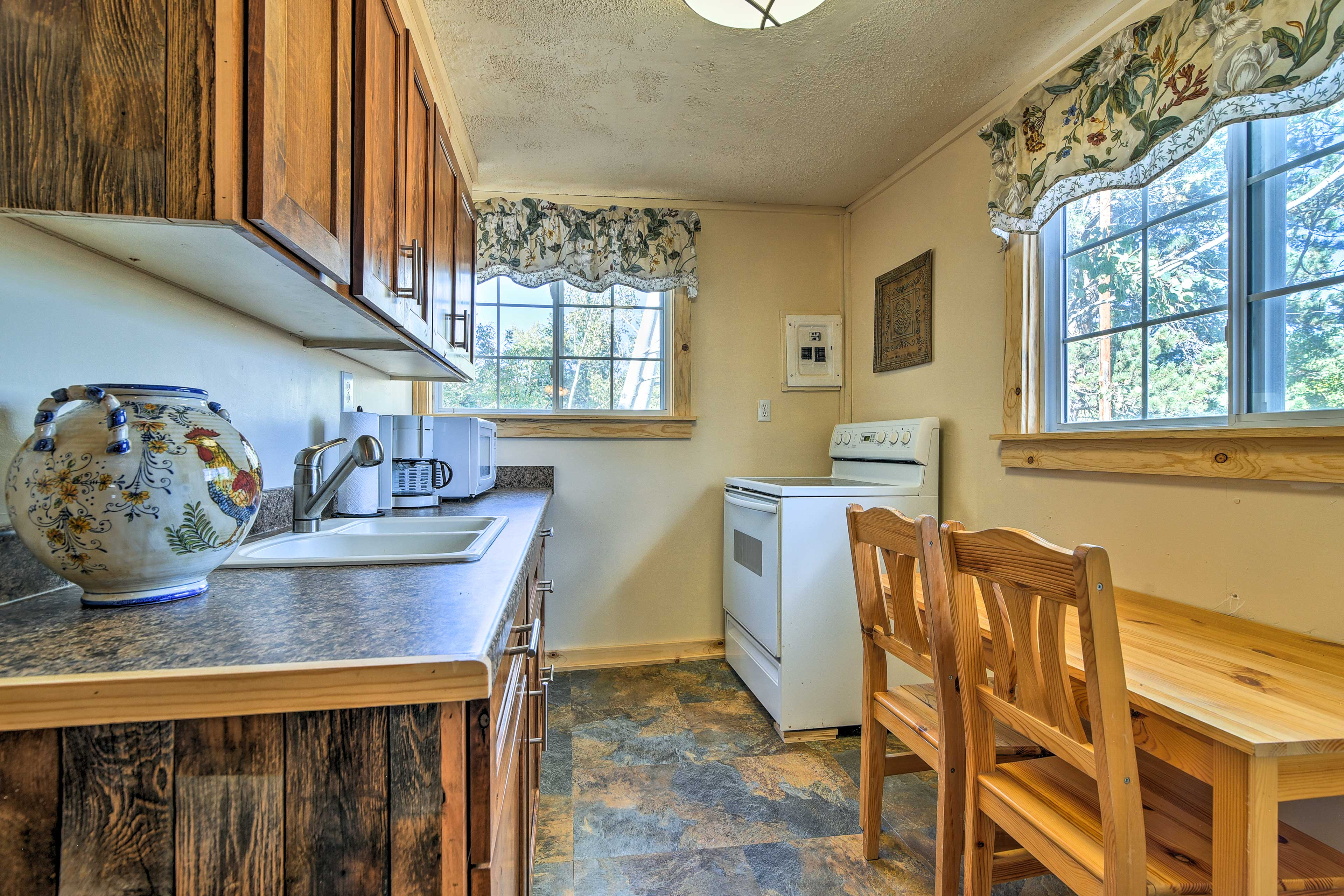 The counter space will help you prepare meals.