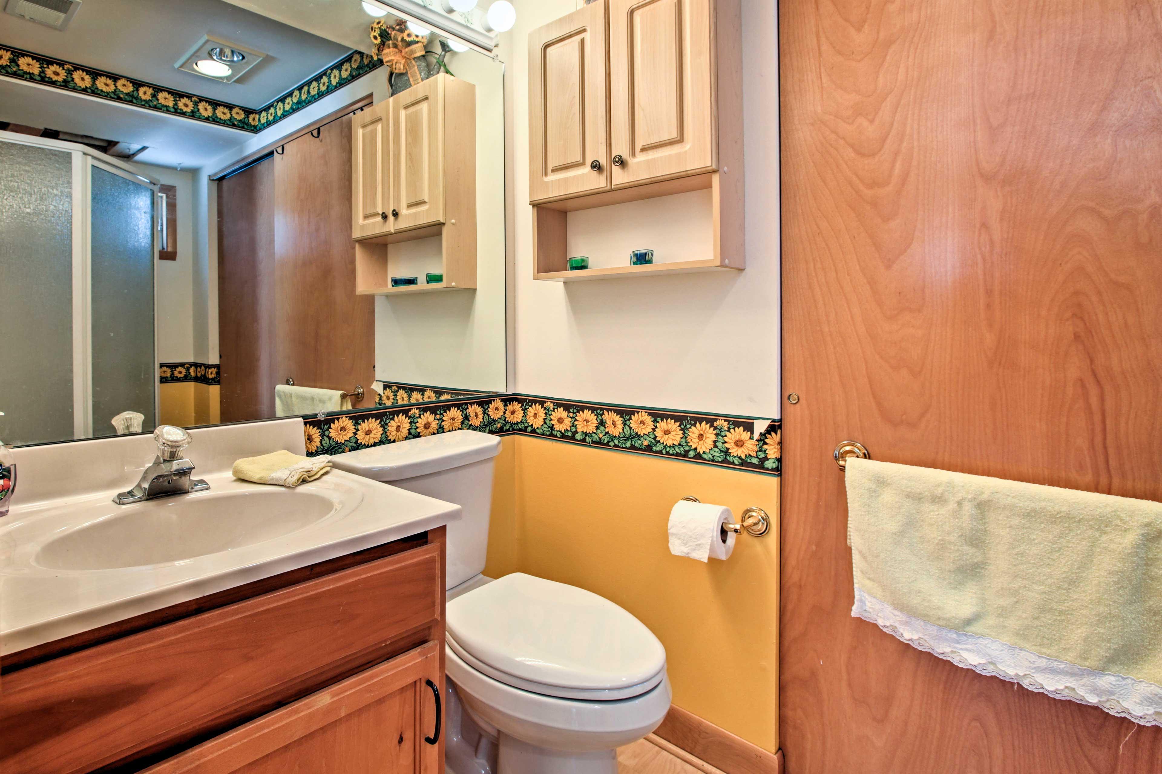 Freshen up in the full bathroom.