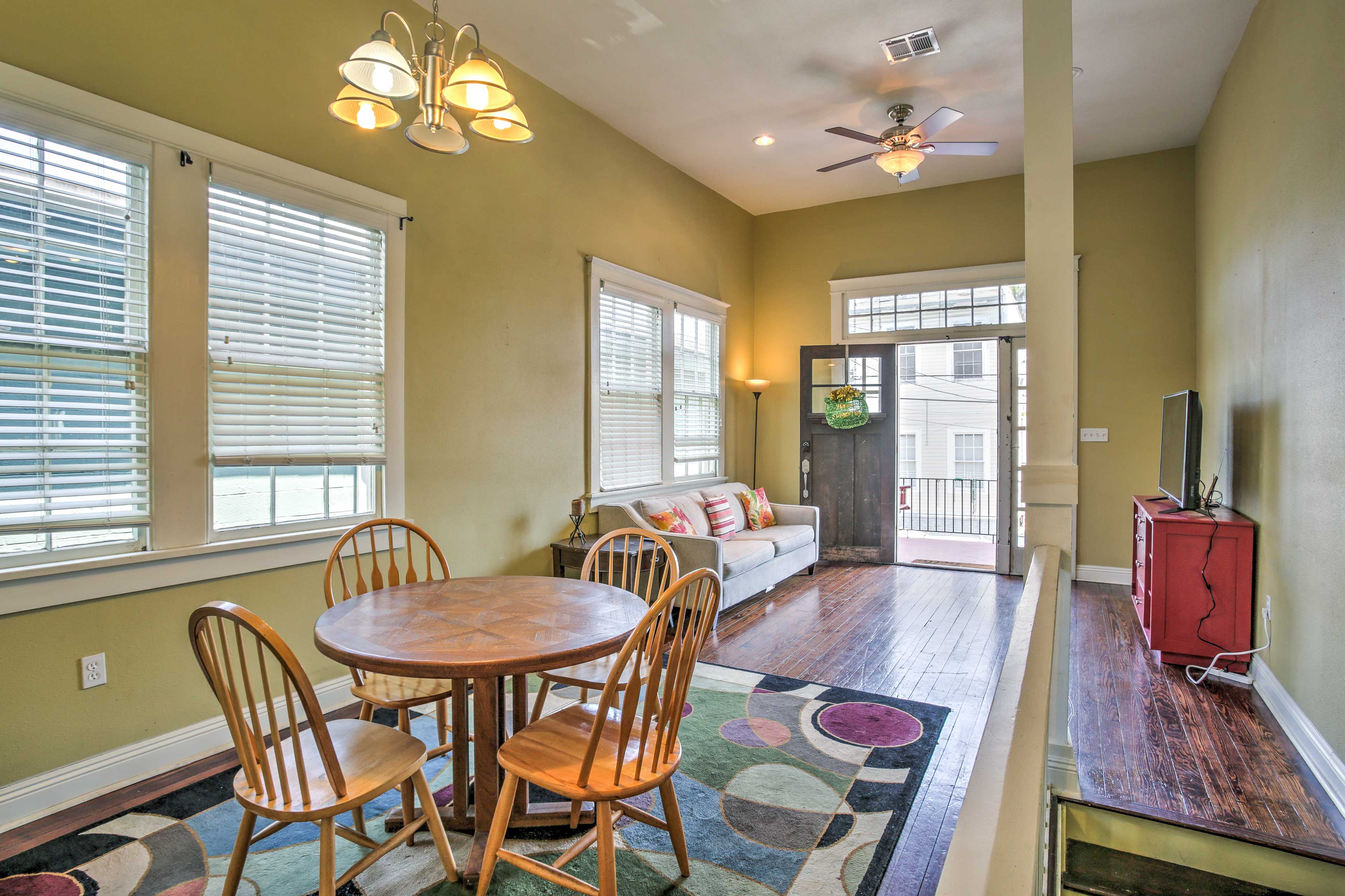 The 1,800-square-foot interior features high ceilings and hardwood floors.
