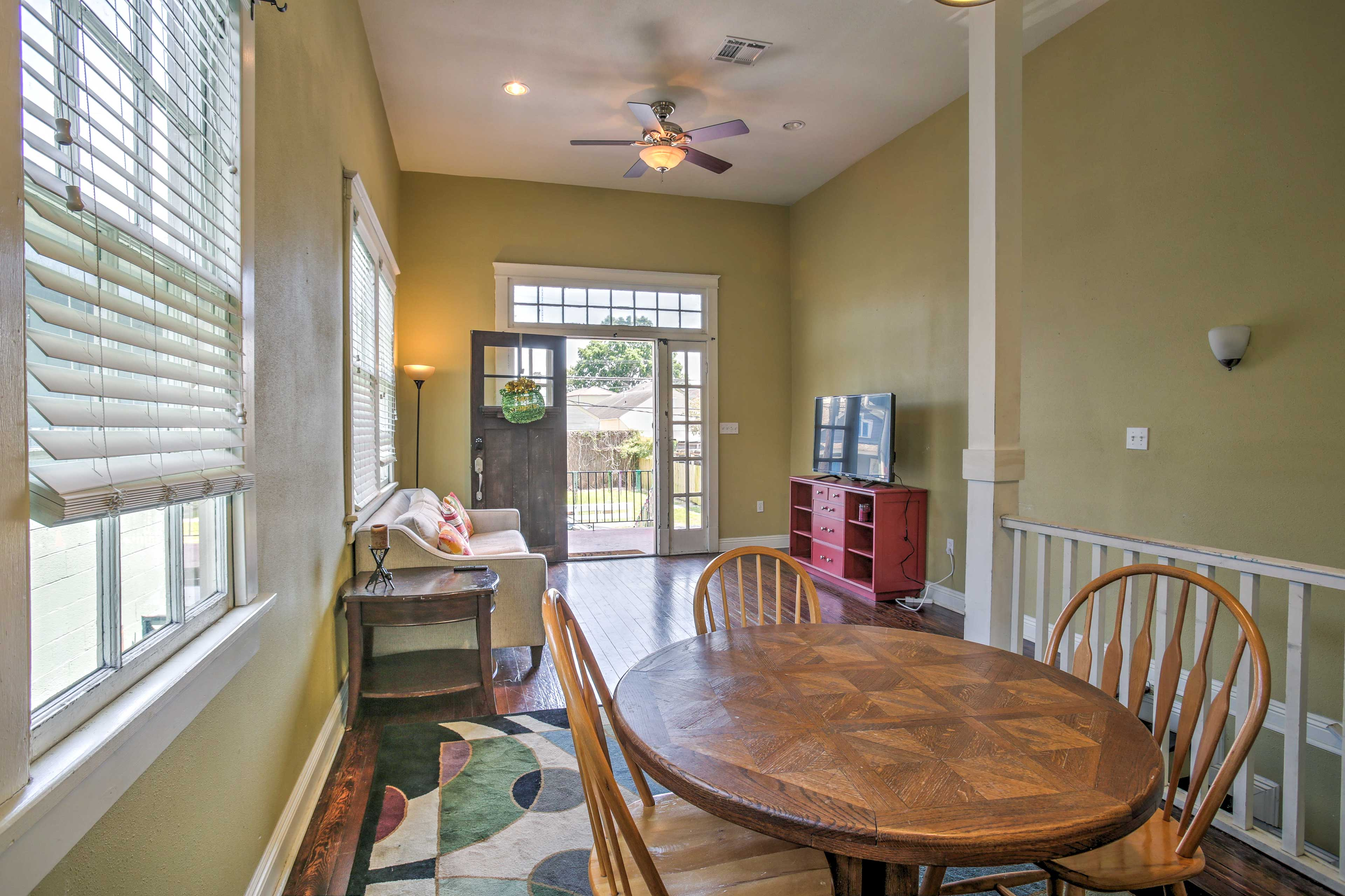 The living area has an open floor plan where your group can easily gather.