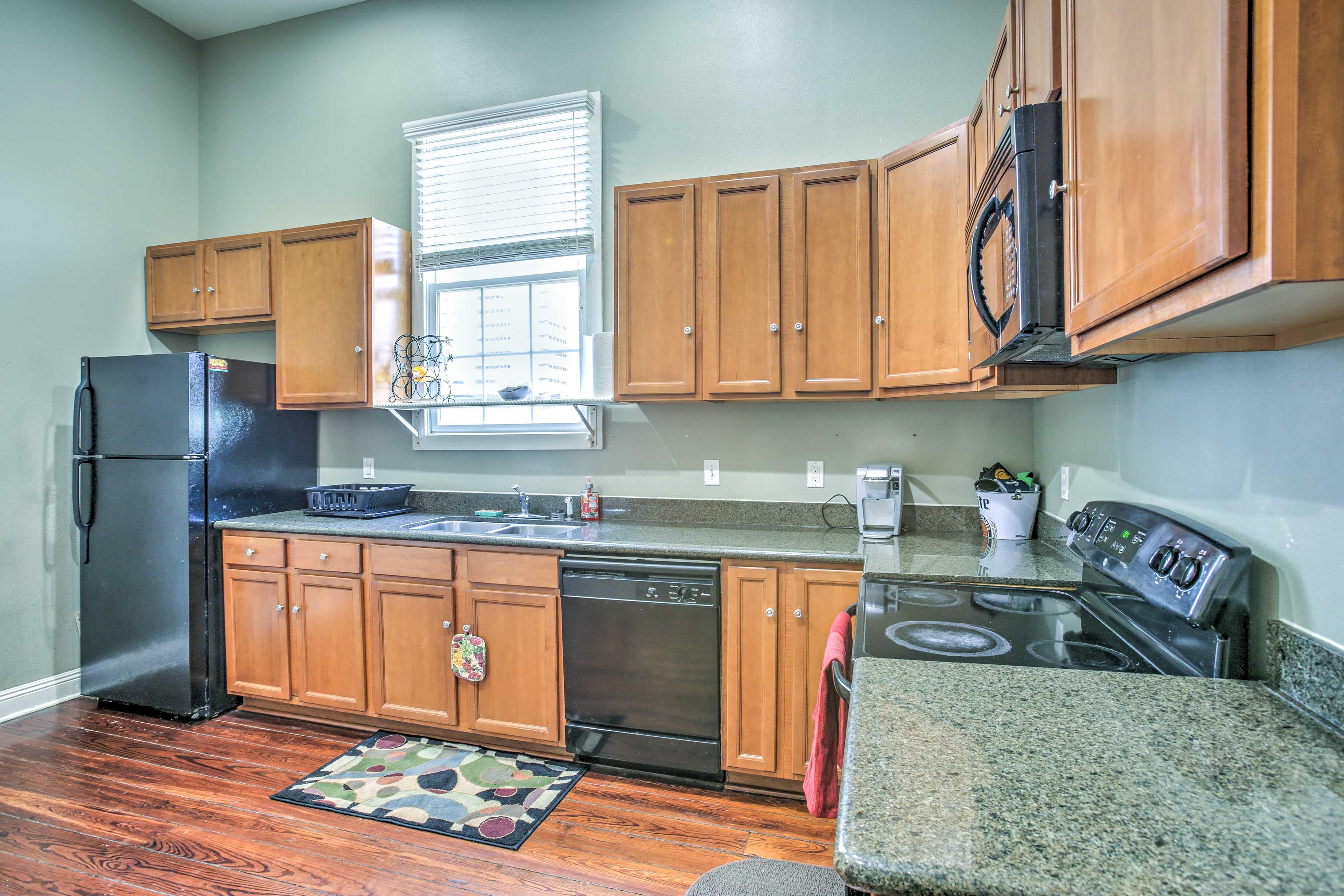 Prepare a Cajun classic in the roomy kitchen.