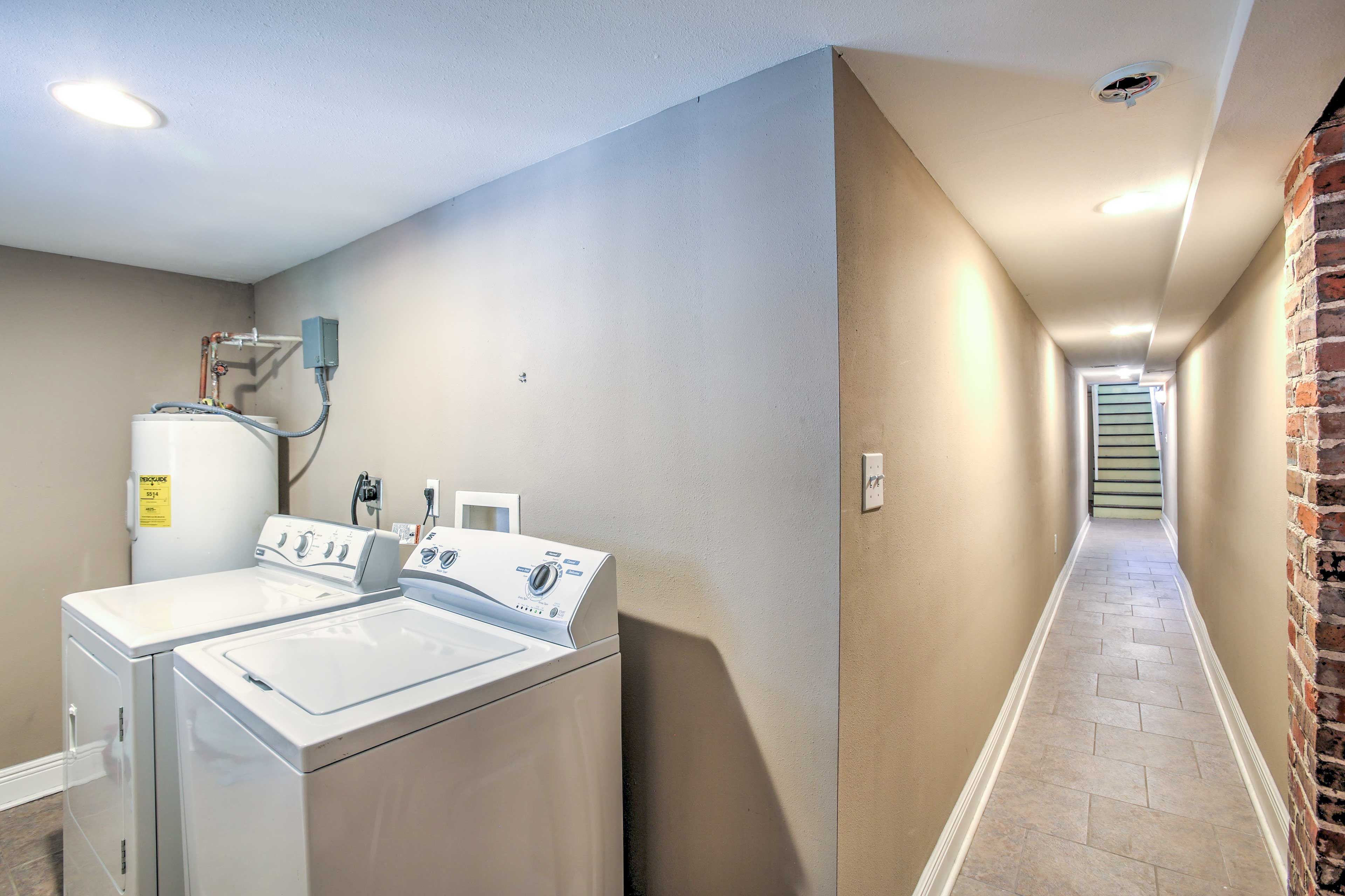 The on-site washer and dryer make it easy to keep your clothes clean.