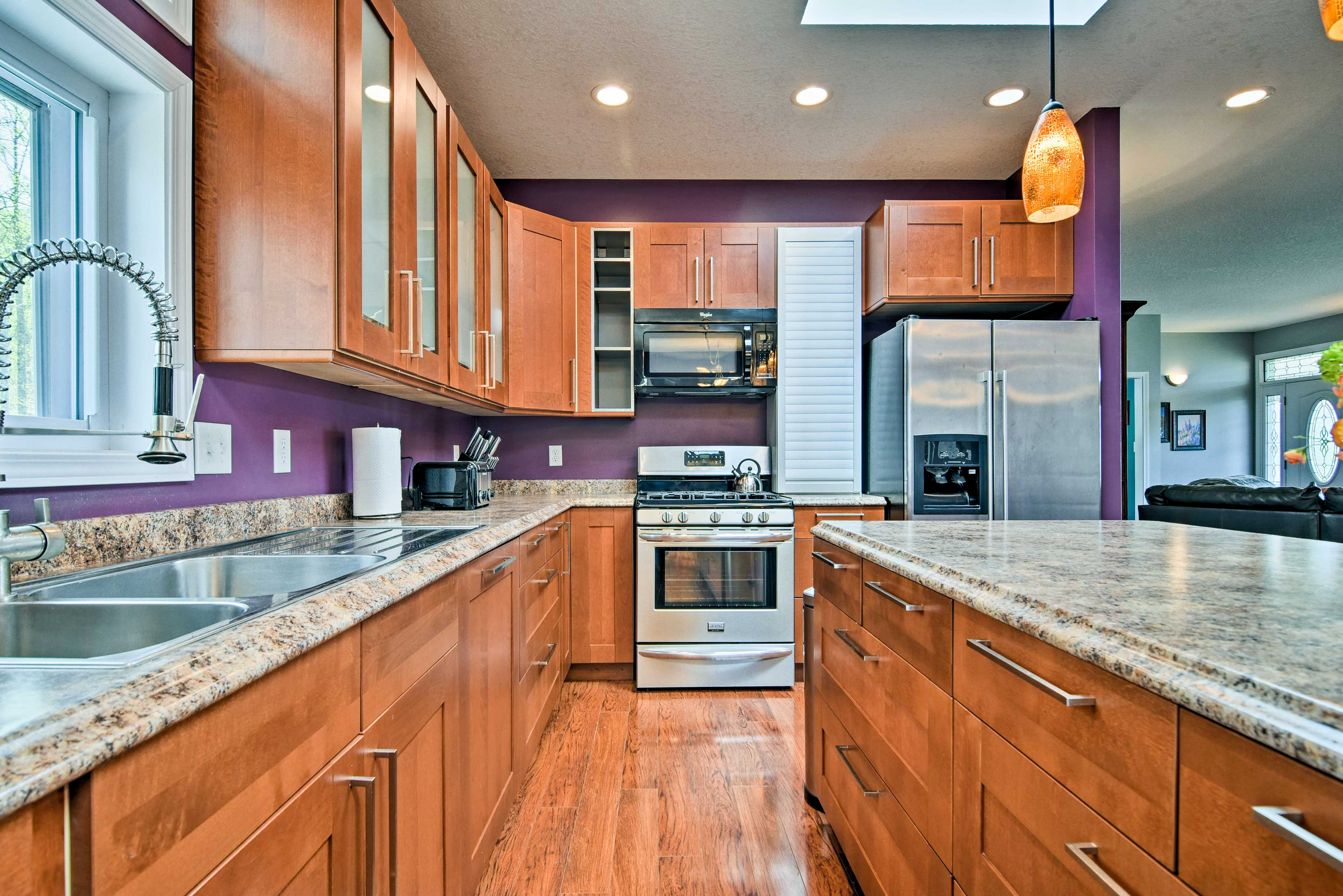 Prepare homemade meals with ease using the stainless steel appliances.