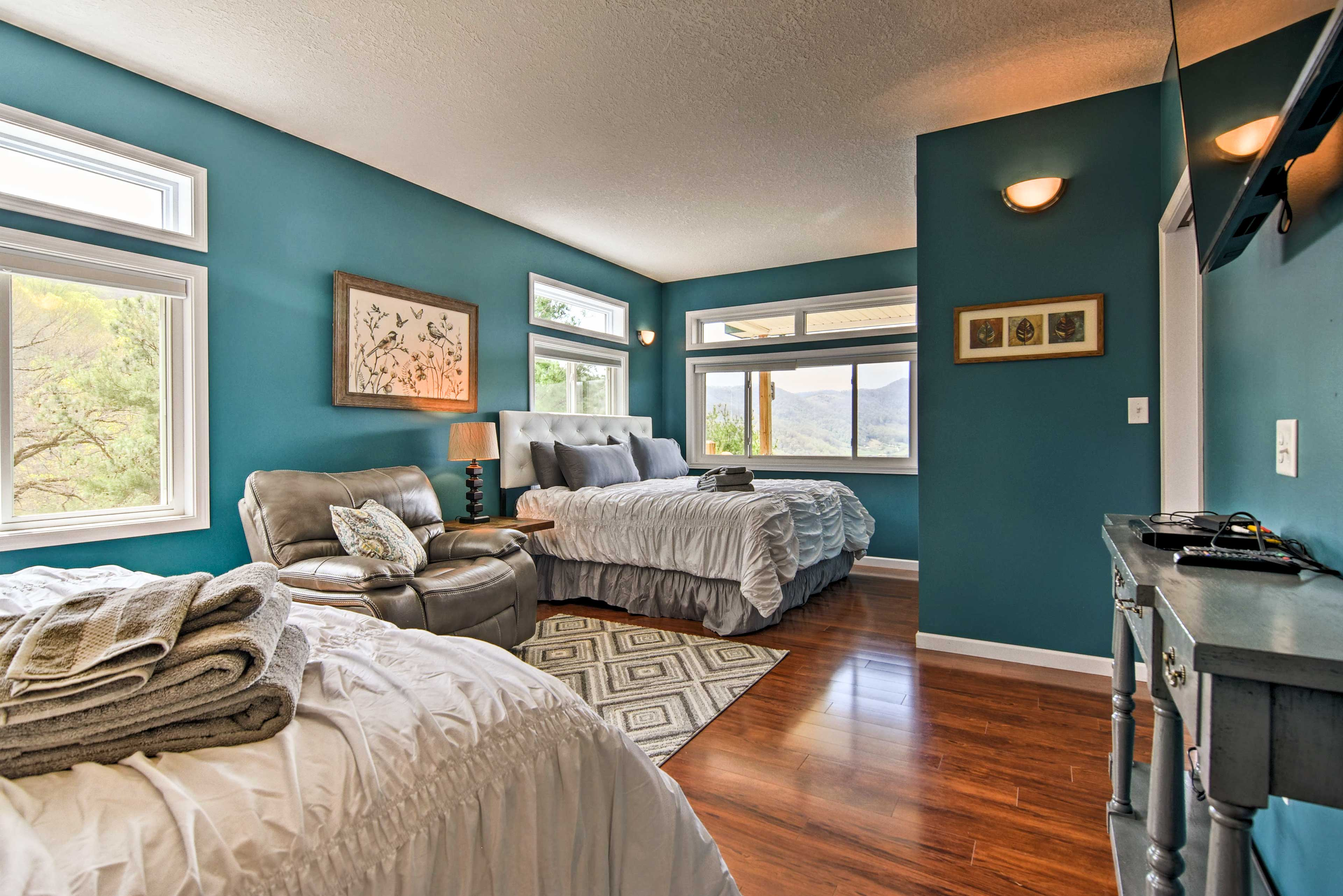 Up to 4 travelers can claim the master bedroom.