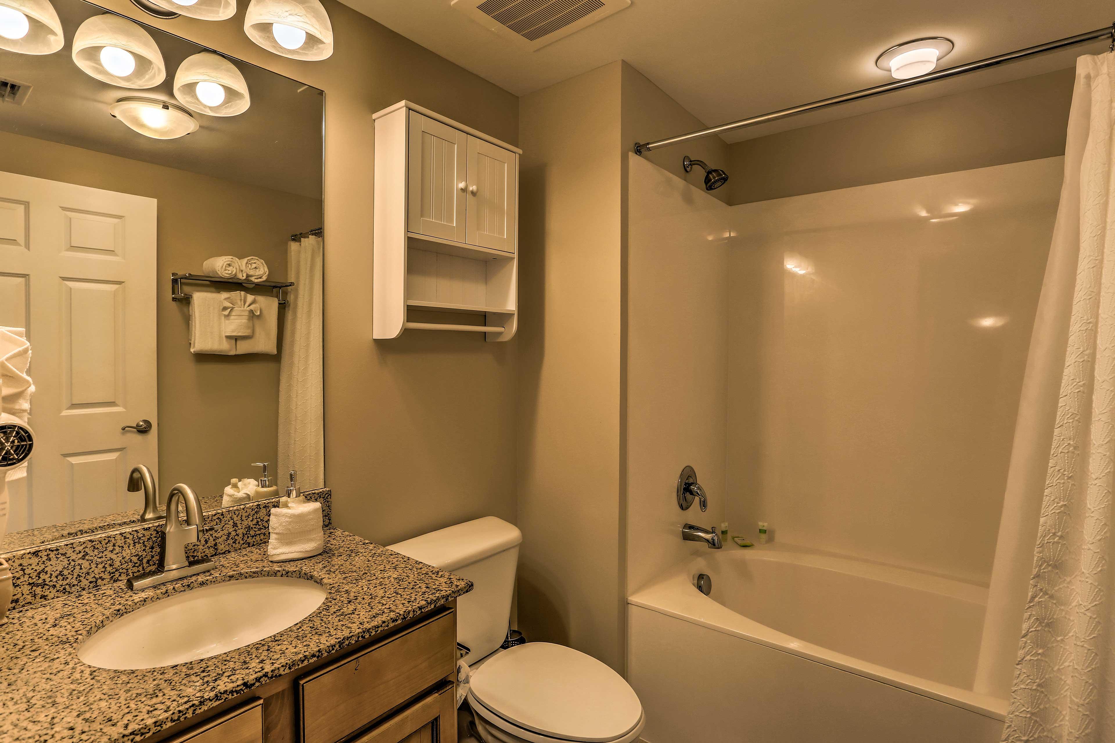 There are 2 pristine bathrooms in the condo.