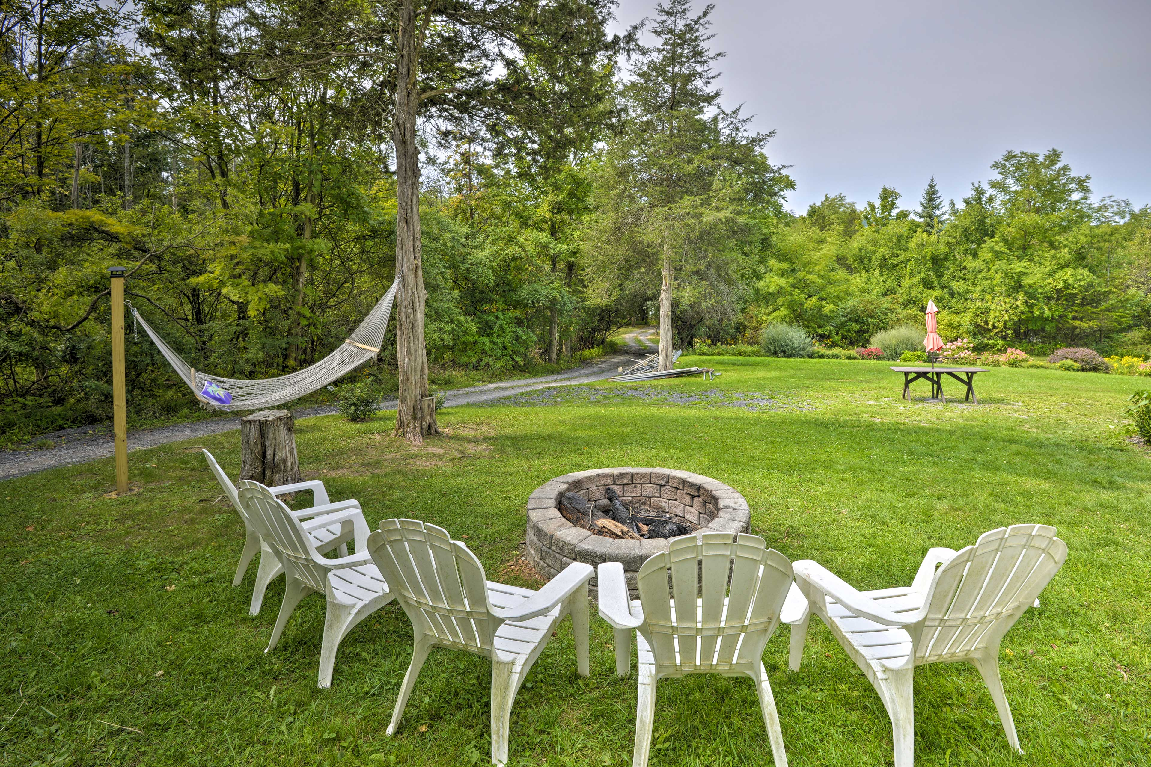 Gather around the fire pit after a day in the sun.