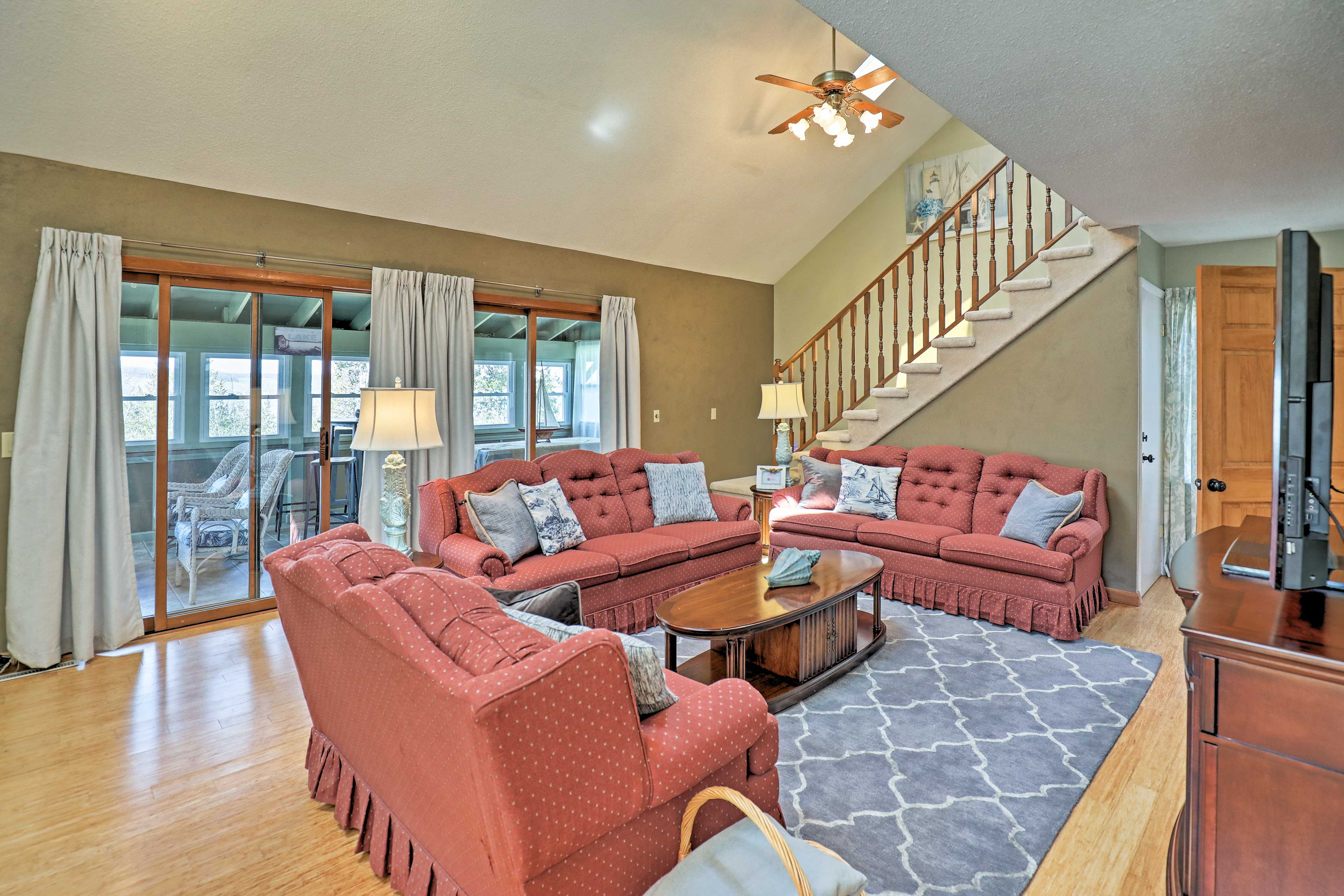 You'll have all the comforts of home plus a dock, fire pit, 3 kayaks and more.
