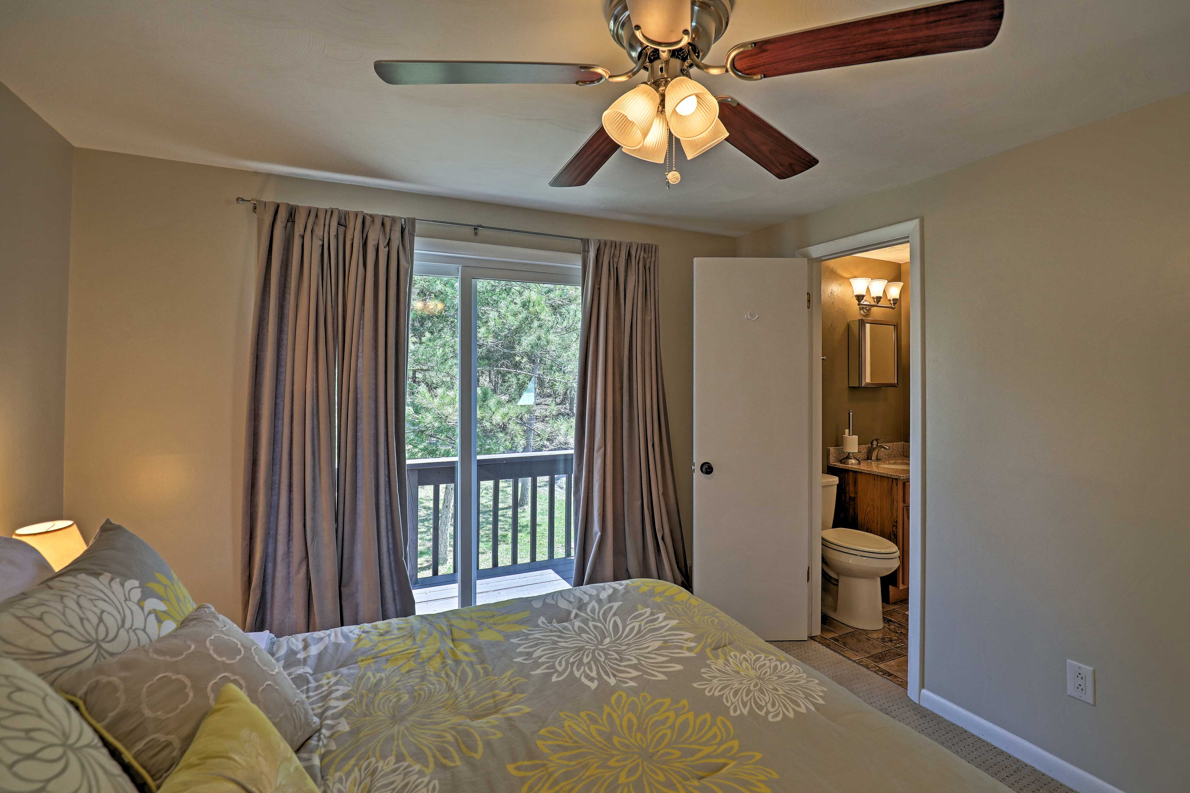 Wake to views through the sliding glass doors.