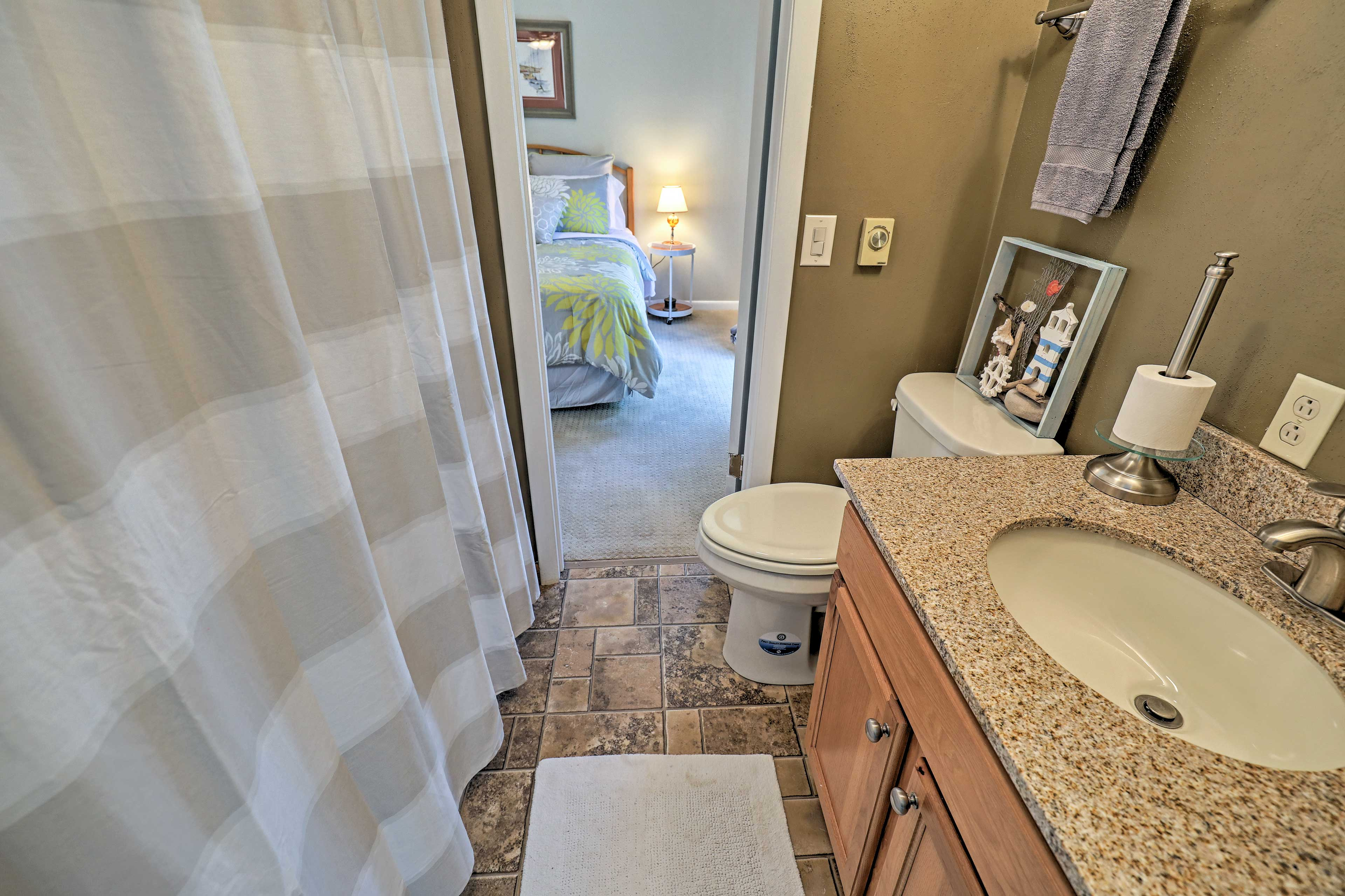 The Jack-and-Jill bathroom connects the second and third bedroom.