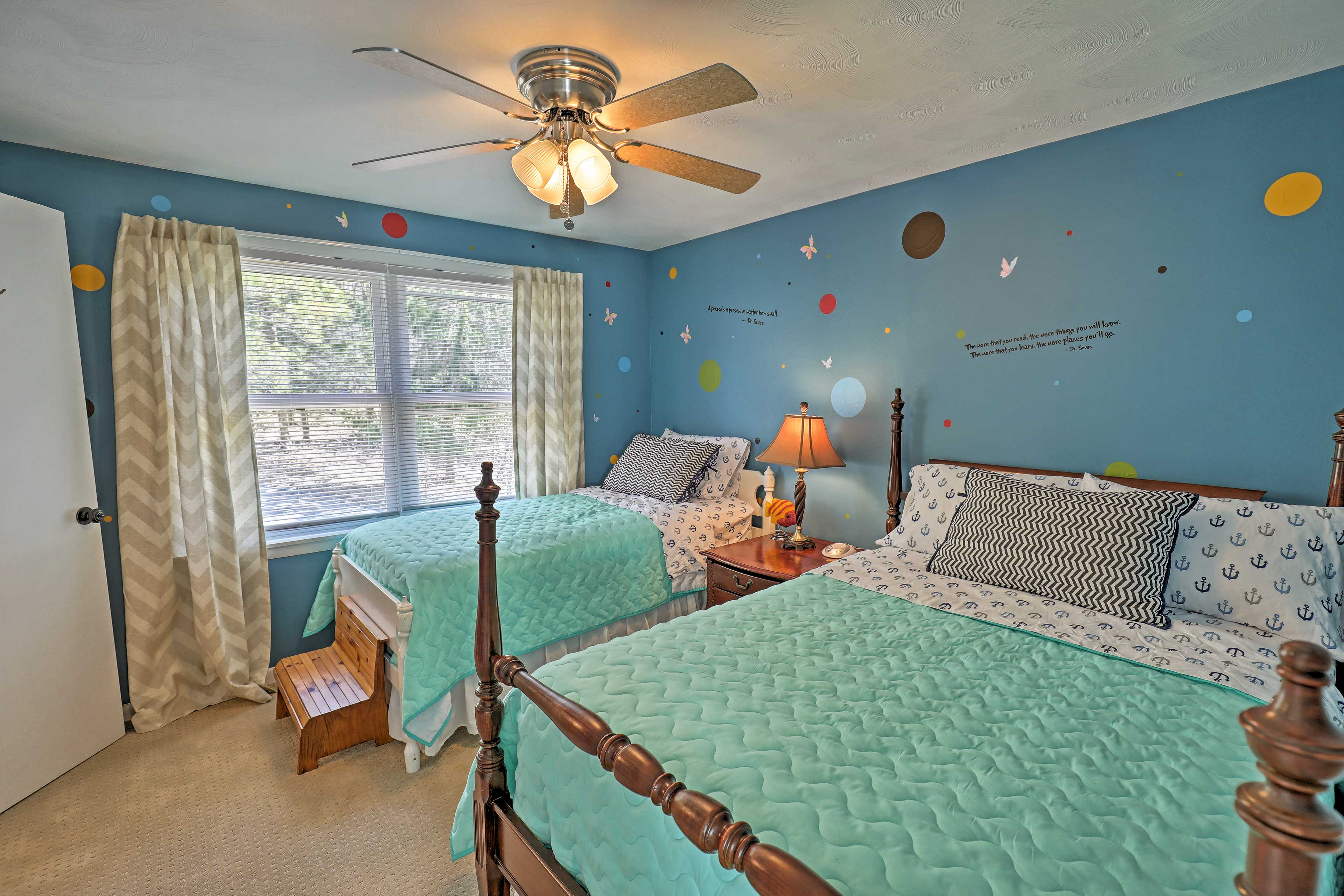 Three guests can sleep in the full bed and twin bed.