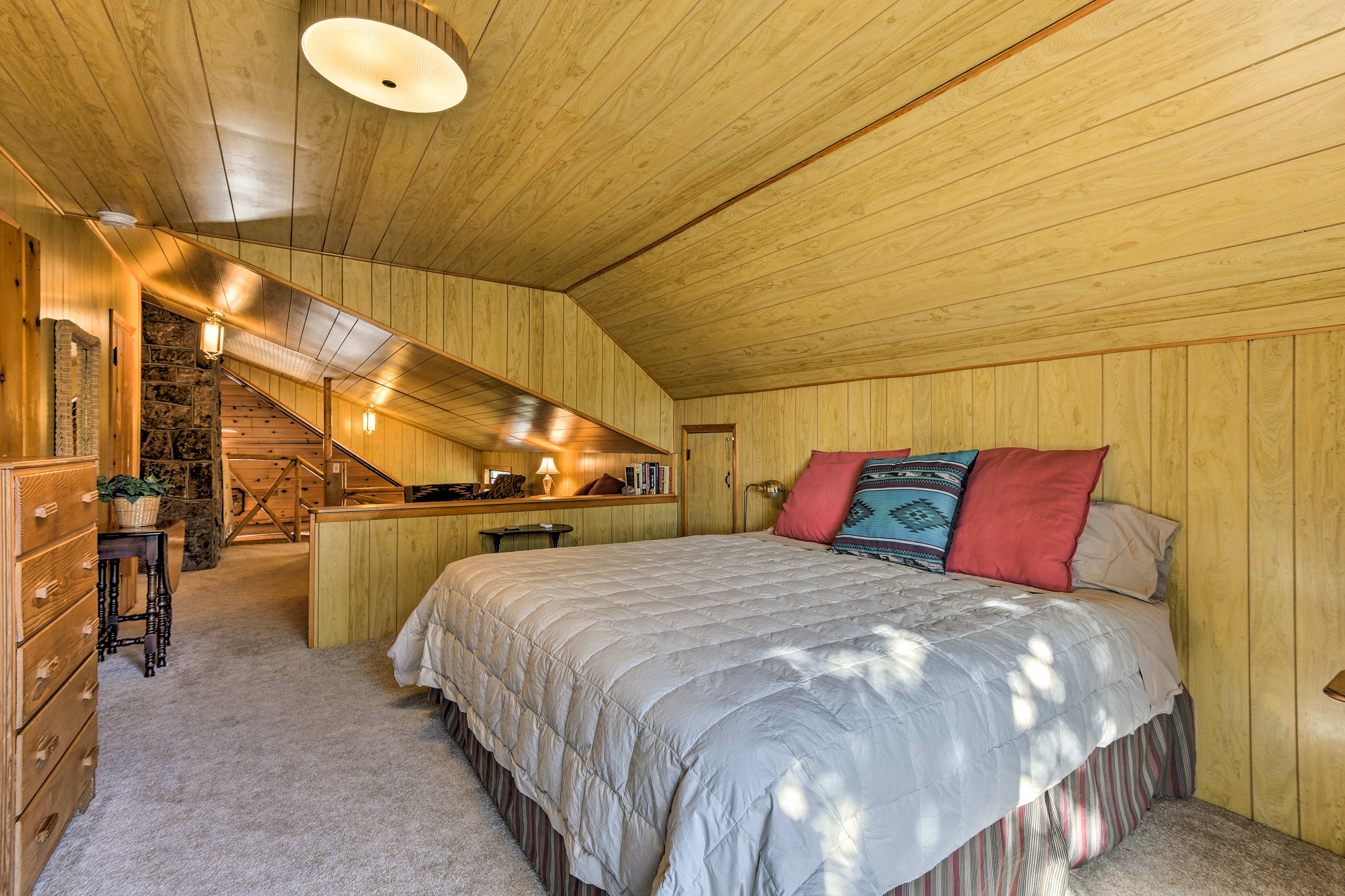 With both a twin bed and king bed, up to 3 guests can sleep in the loft.