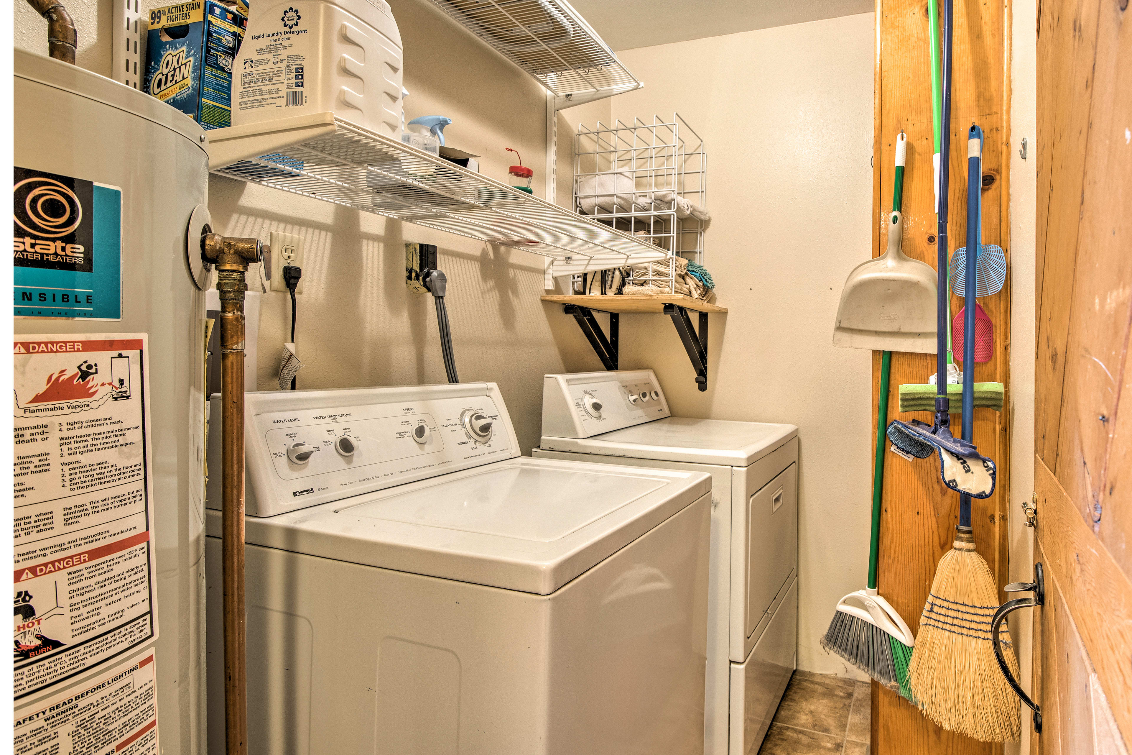 Wash your dirty duds in the laundry machines.