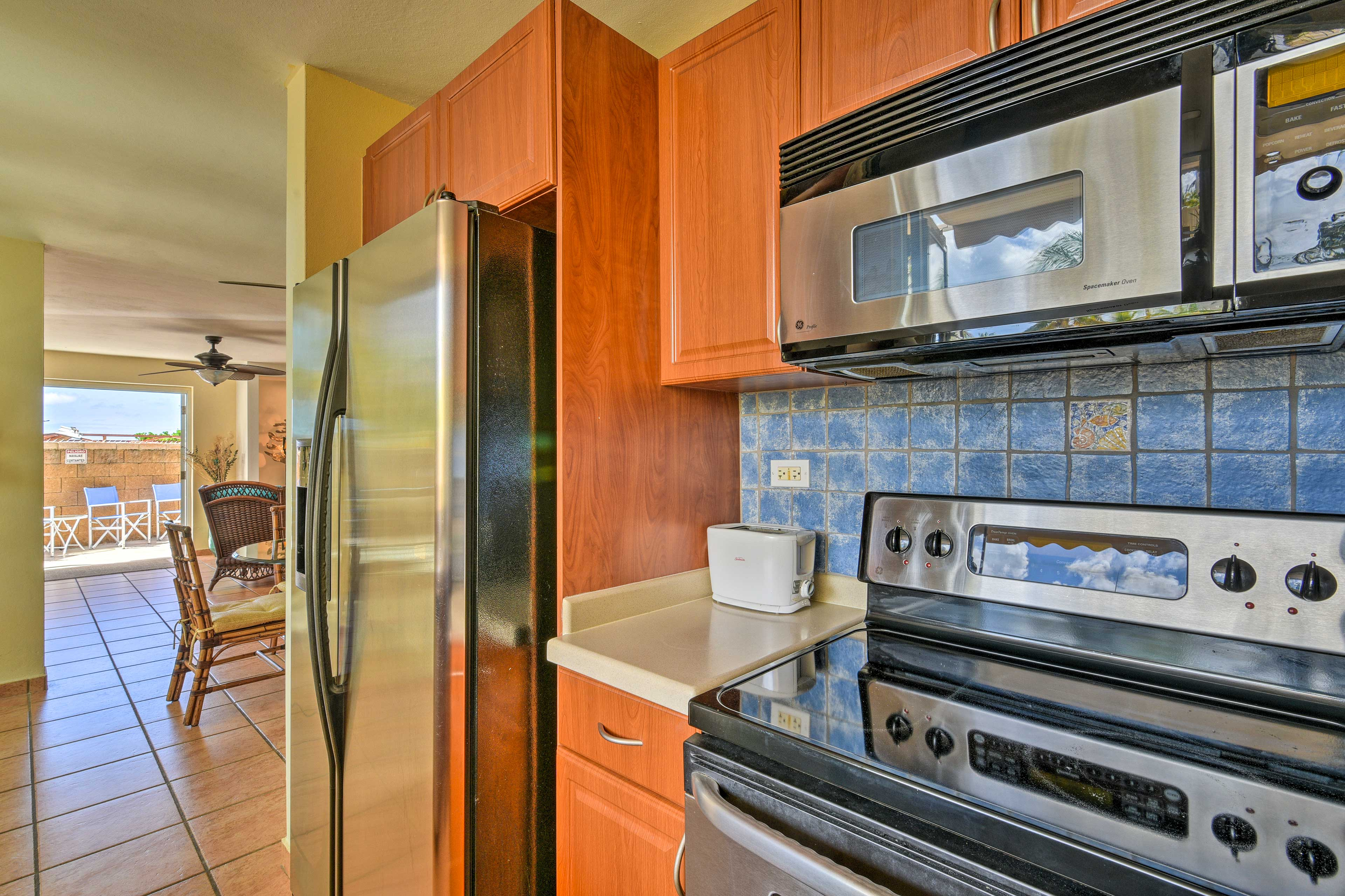 Stainless steel appliances make cooking at home a breeze.