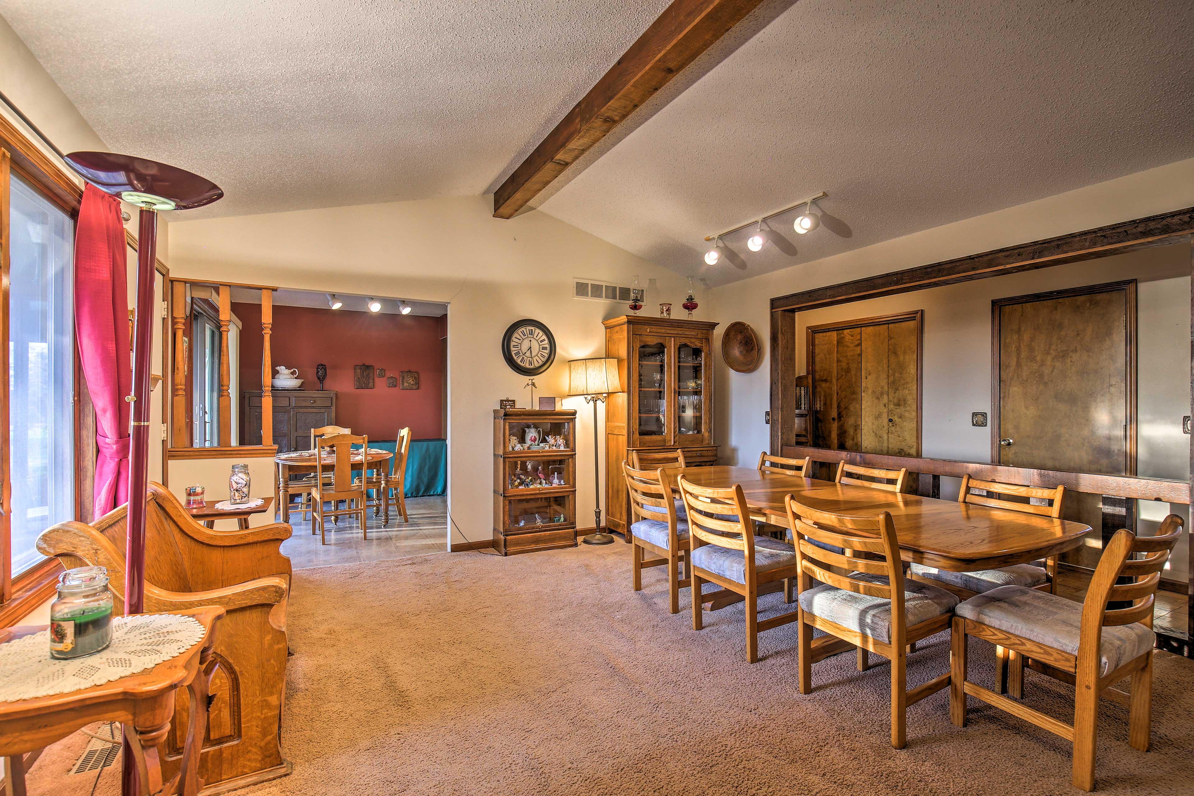 Sunlight streams into the living area to illuminate the open floor plan.