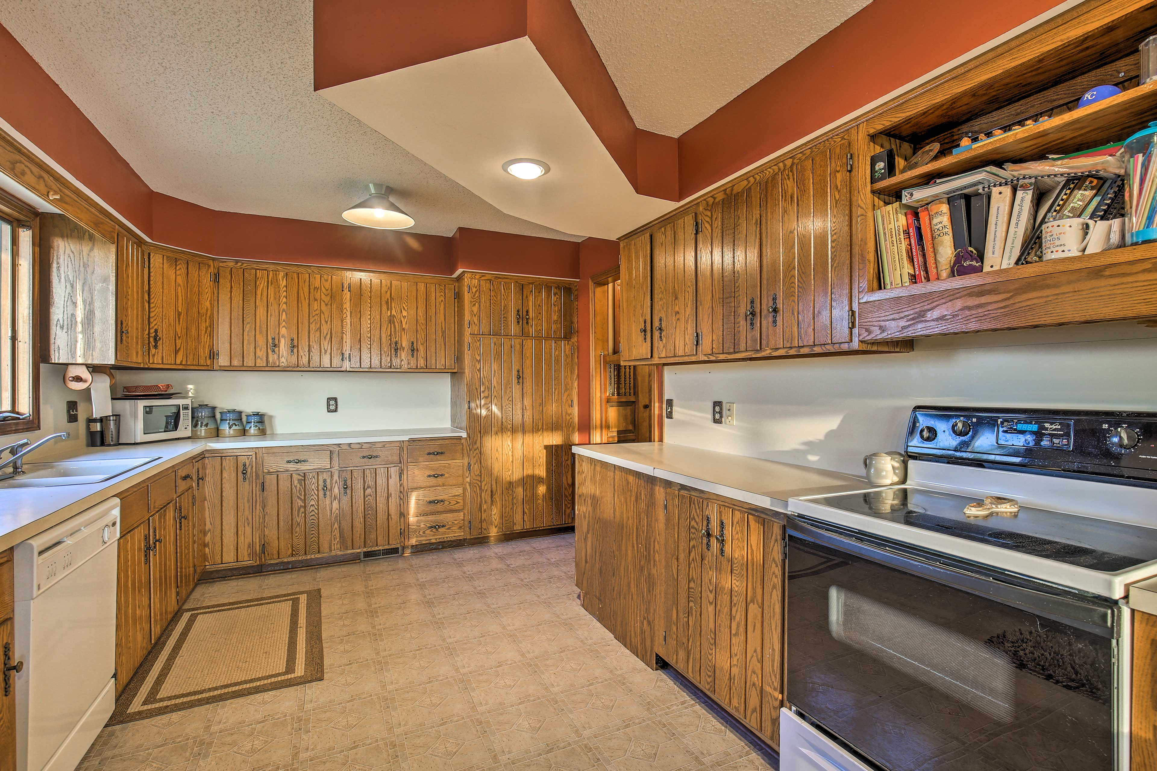 The kitchen offers all amenities necessary, including a drip coffee pot.