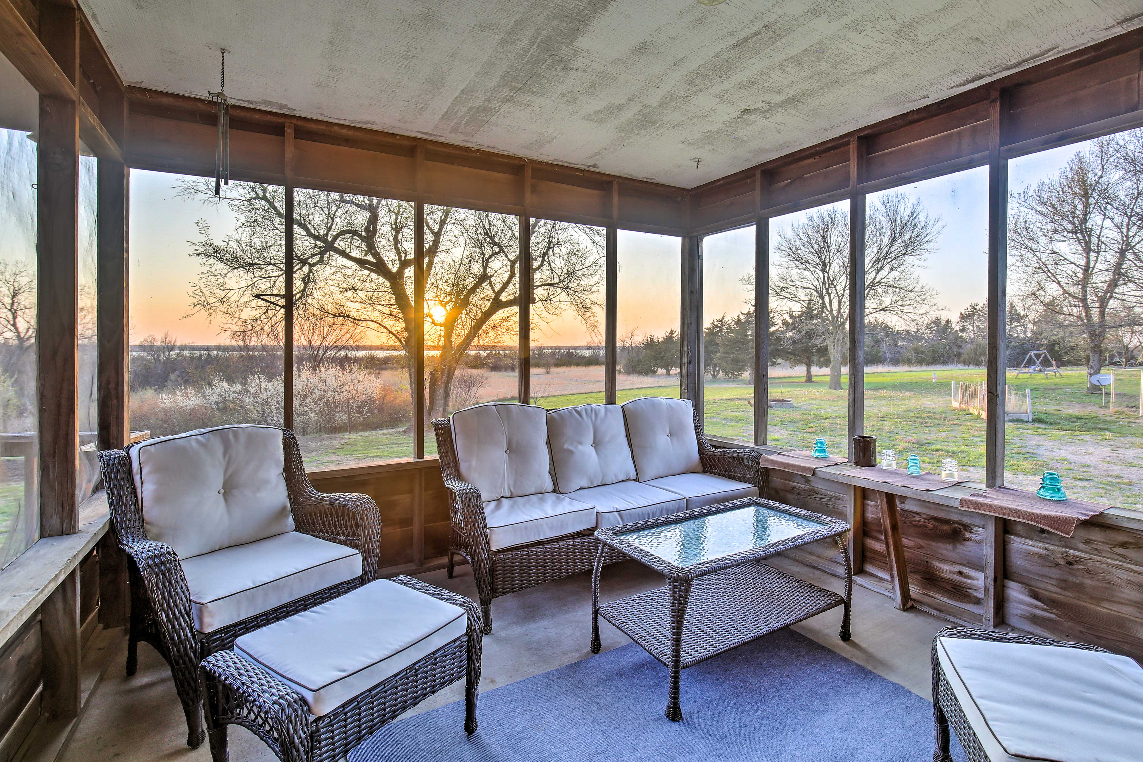 Explore Milford Lake from this waterfront vacation rental home.