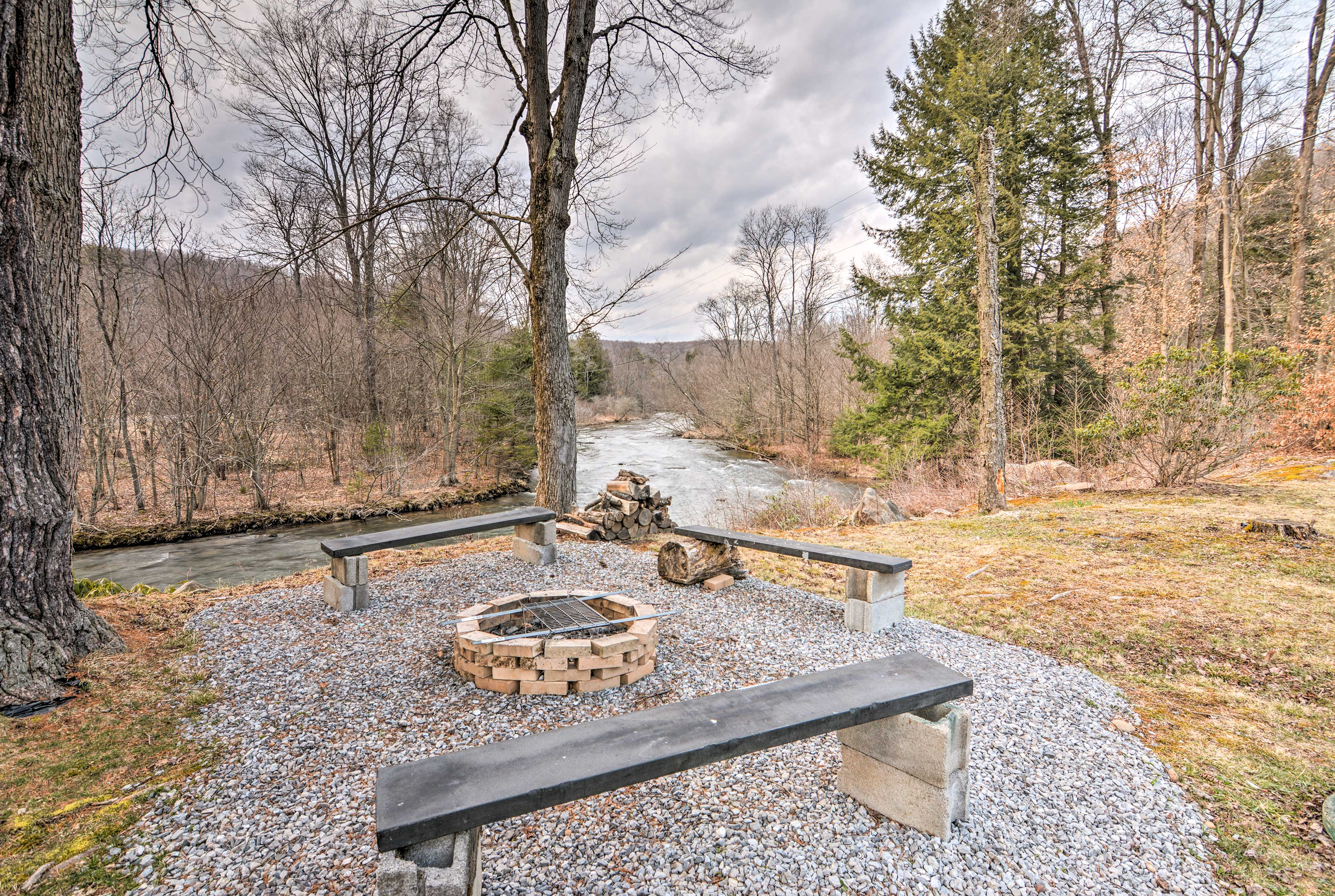 The home is ideally located along the banks of the Clarion River.