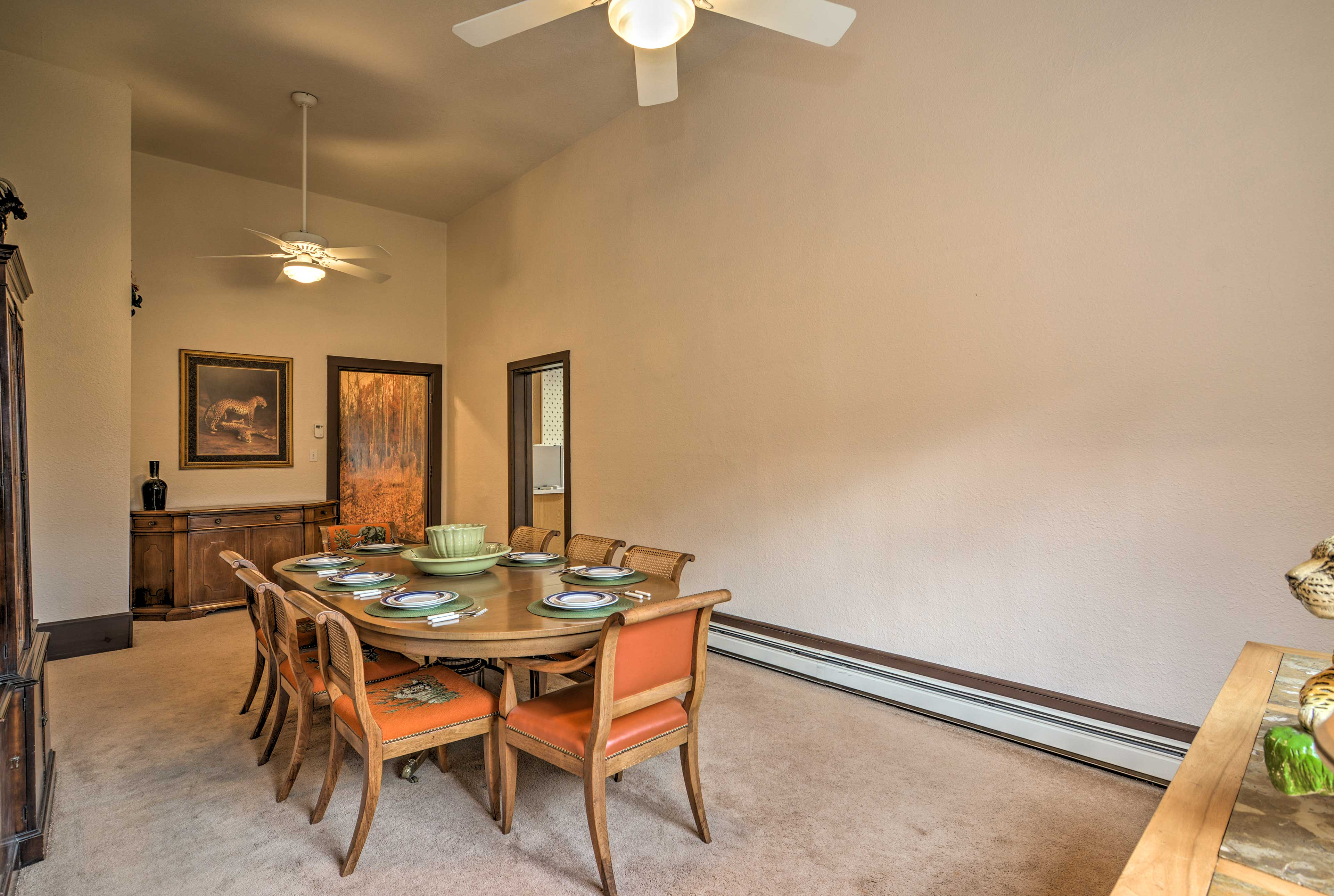 Gather around the dining room table to enjoy your feasts.