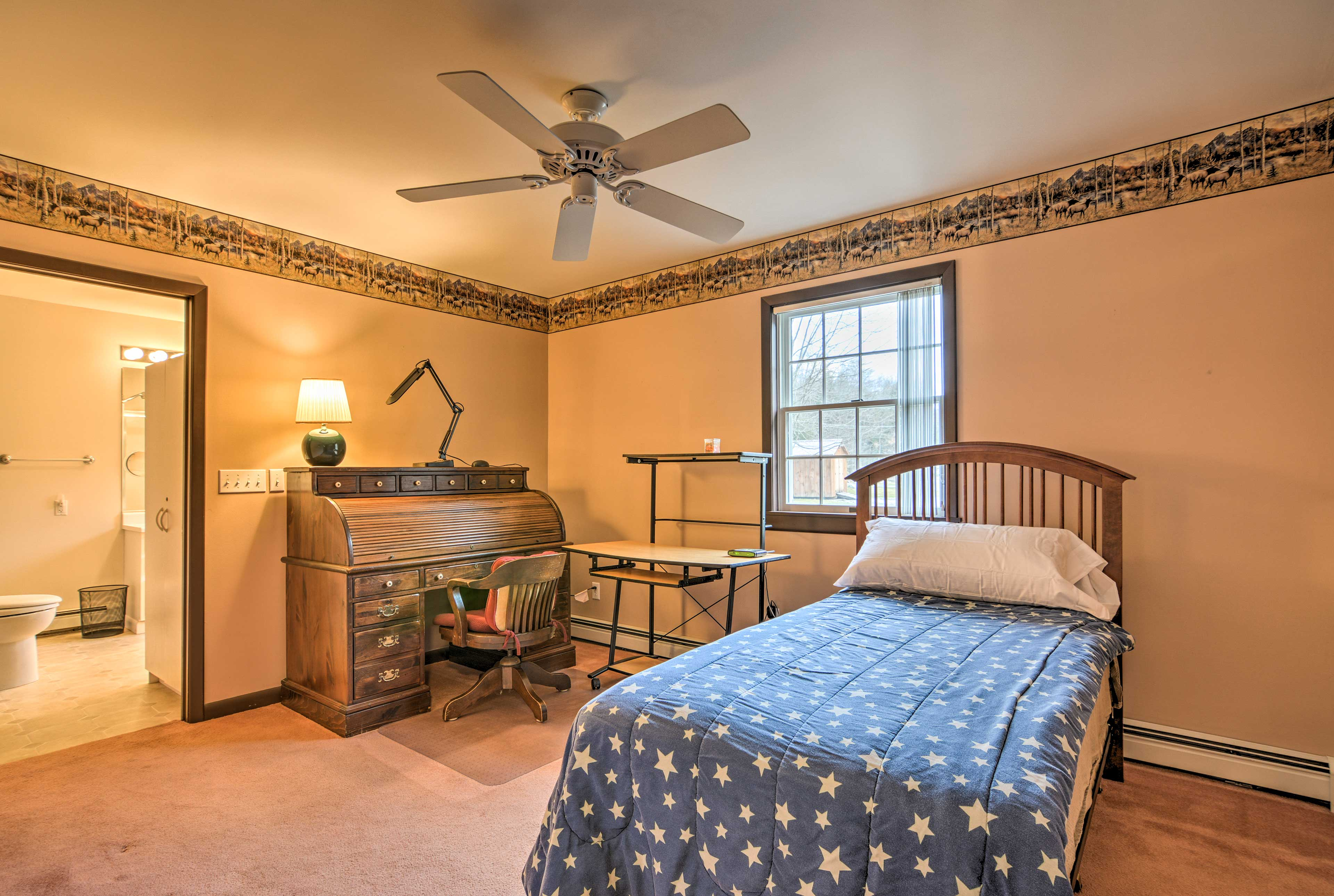The twin bed in this room is great for 1 person.