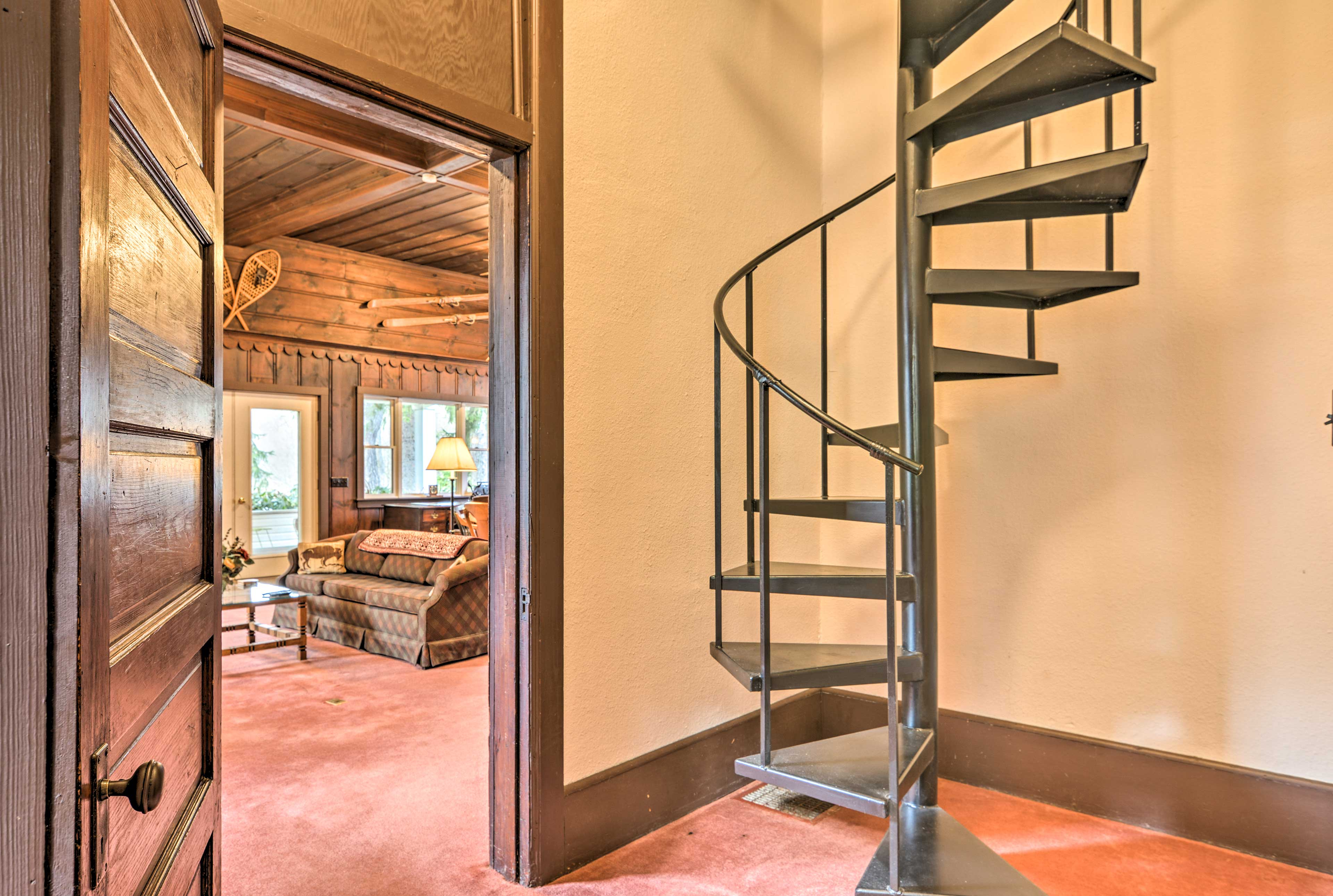 This spiral staircase leads upstairs.