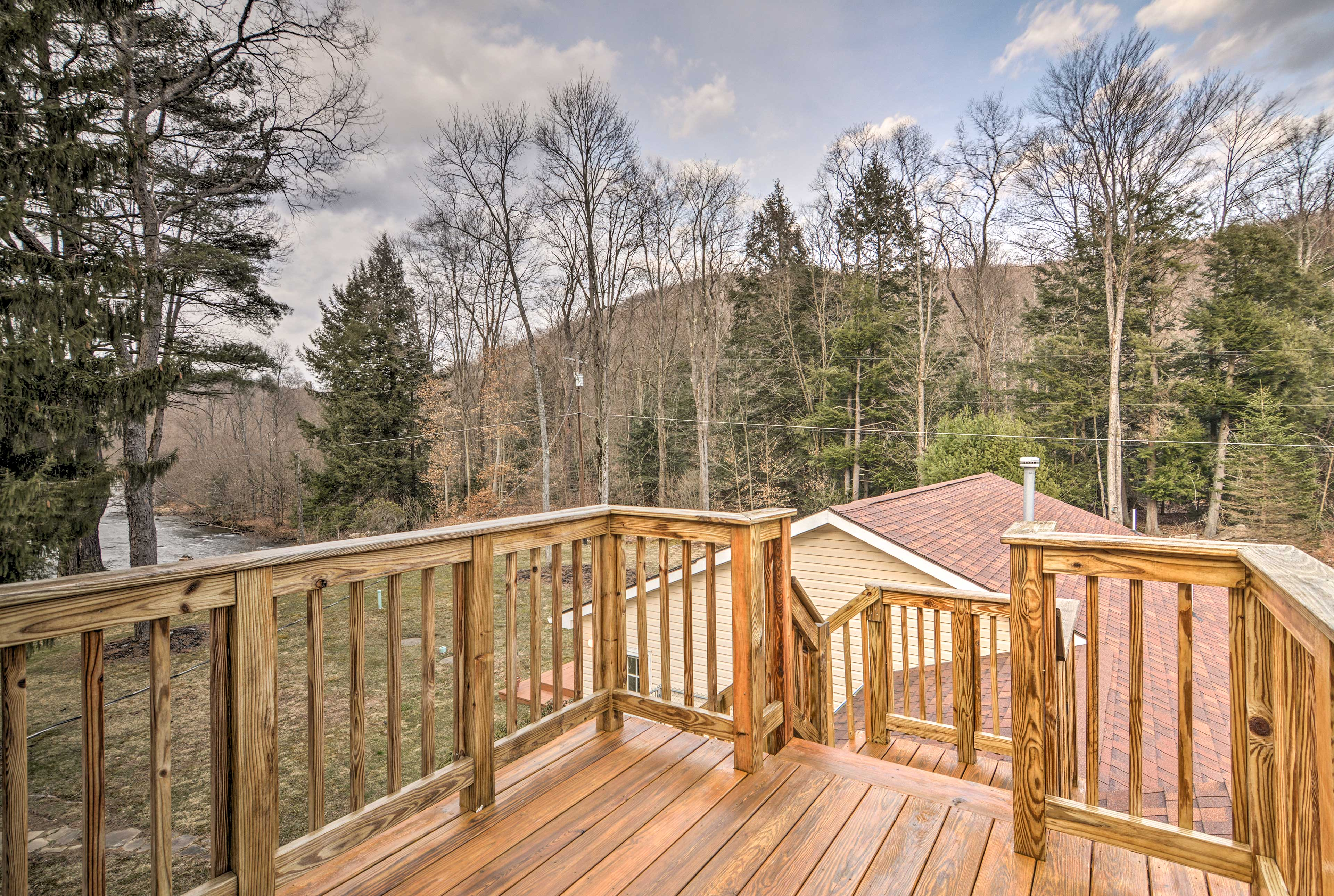 Step out onto the deck to get some fresh air!