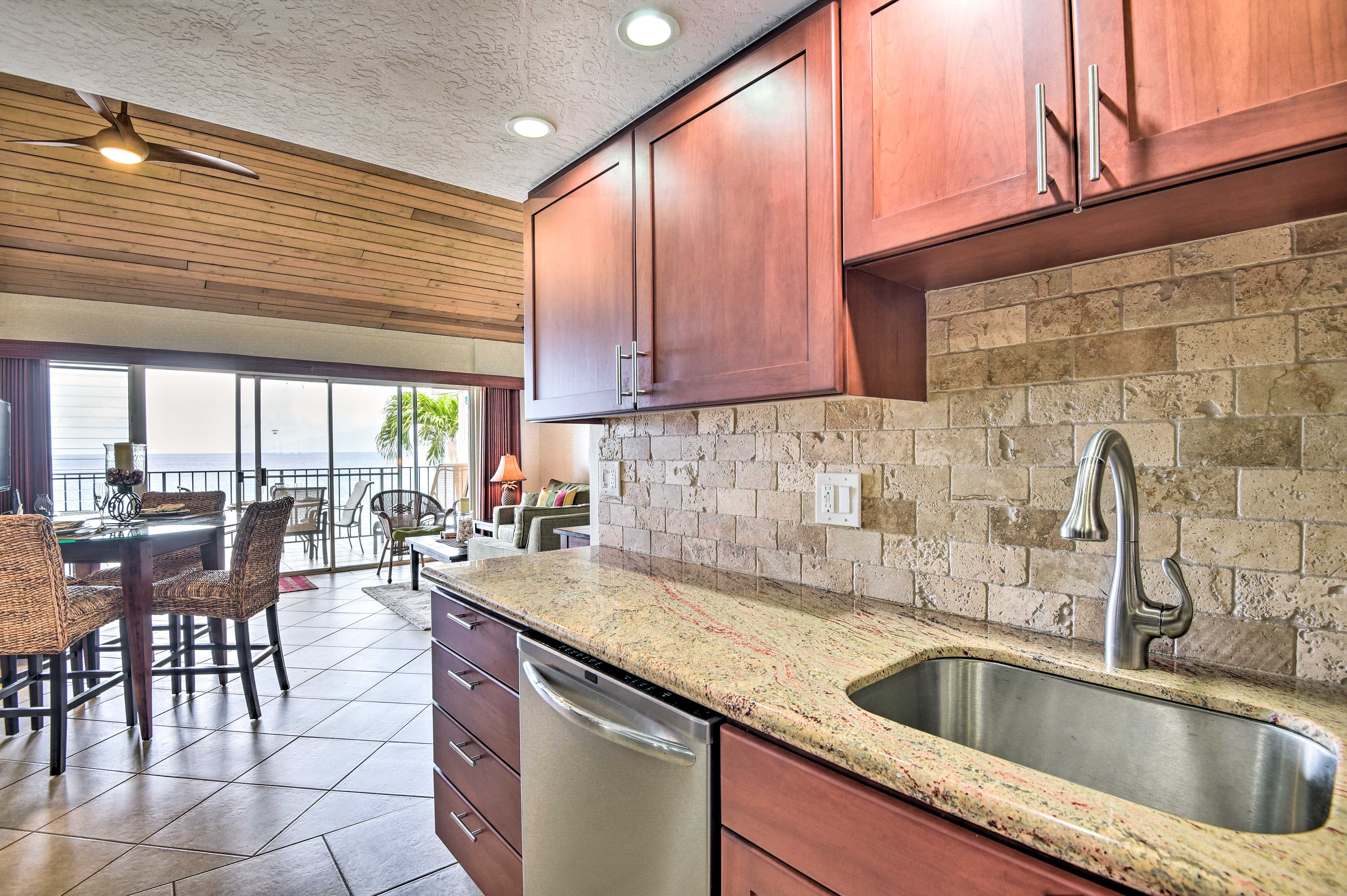 There's plenty of counter space for preparing meals or setting up a buffet line.