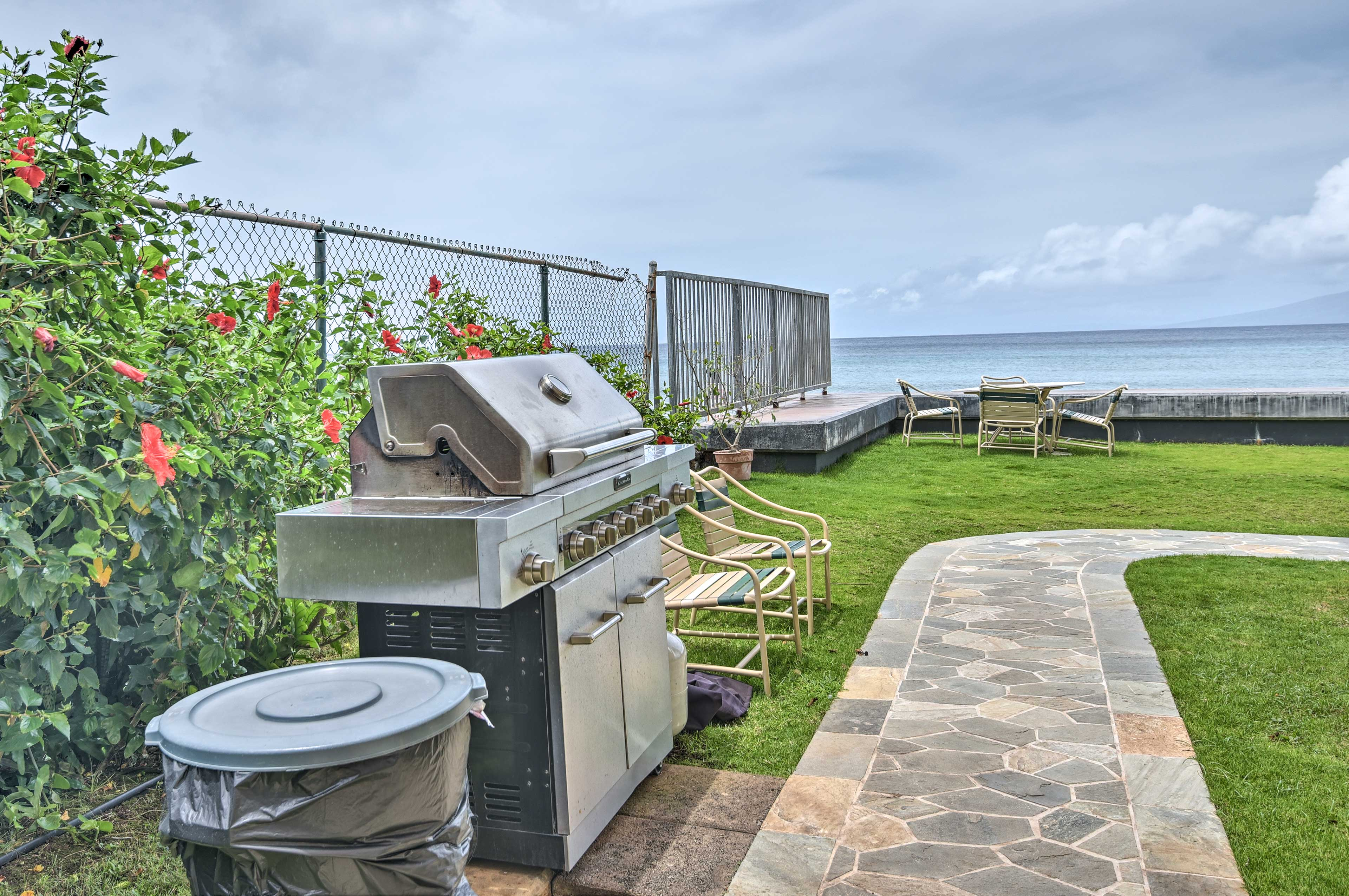 Use the gas grill to BBQ dinner and eat at the outdoor chairs by the sea.