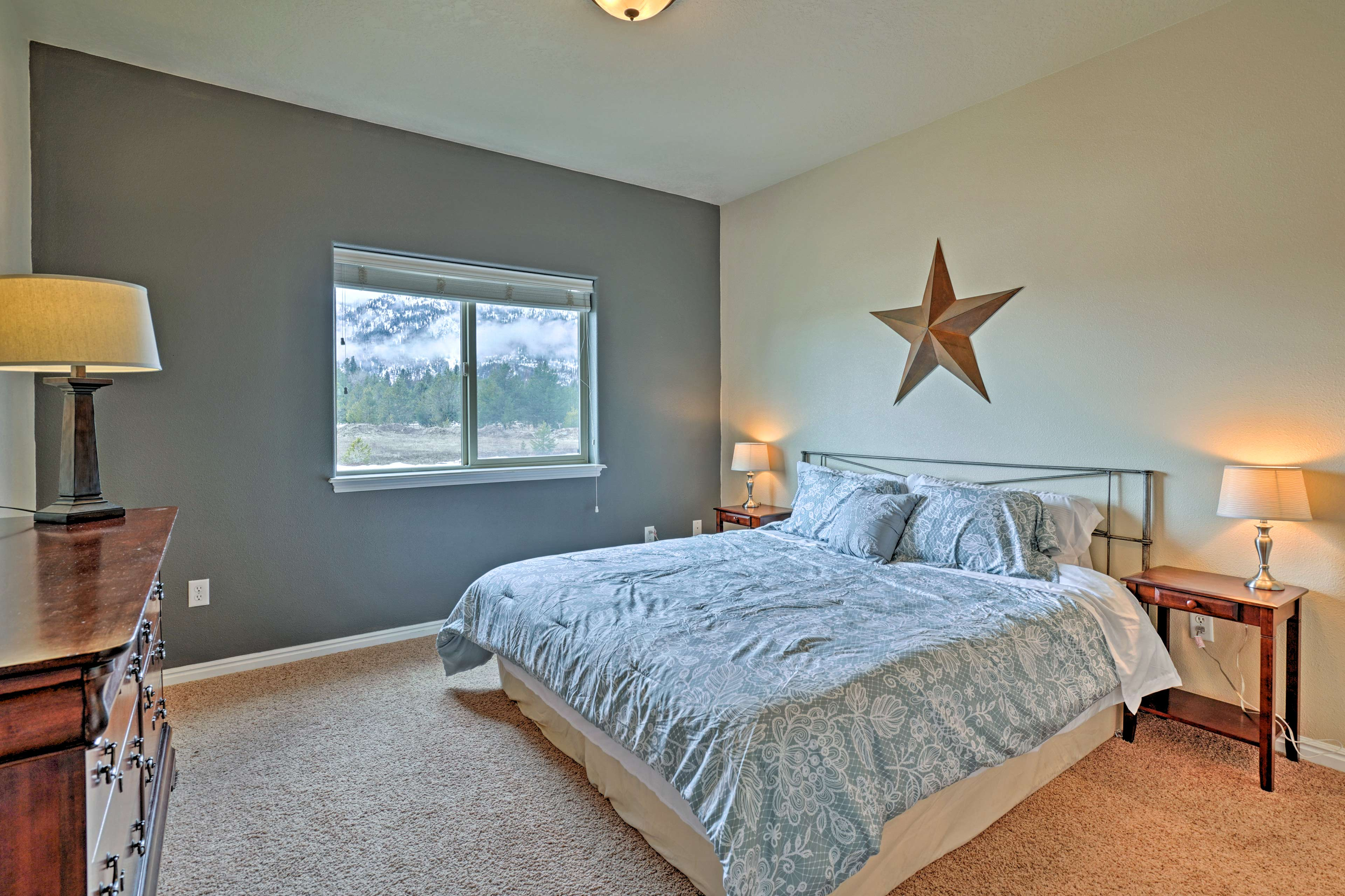 Retreat to the master bedroom for an easy night in.