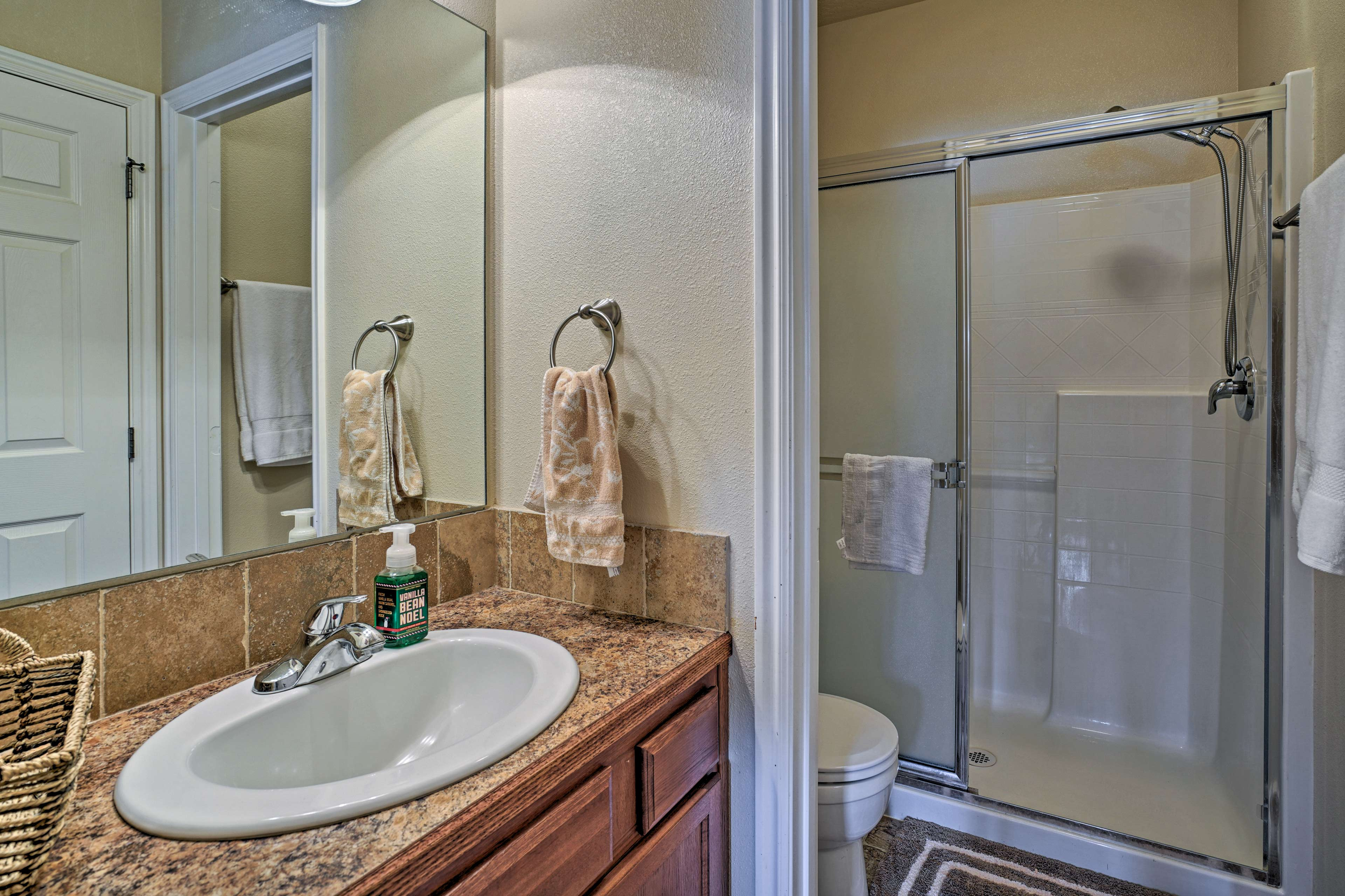 After a day on the mountain, enjoy a cleansing rinse in the walk-in shower.