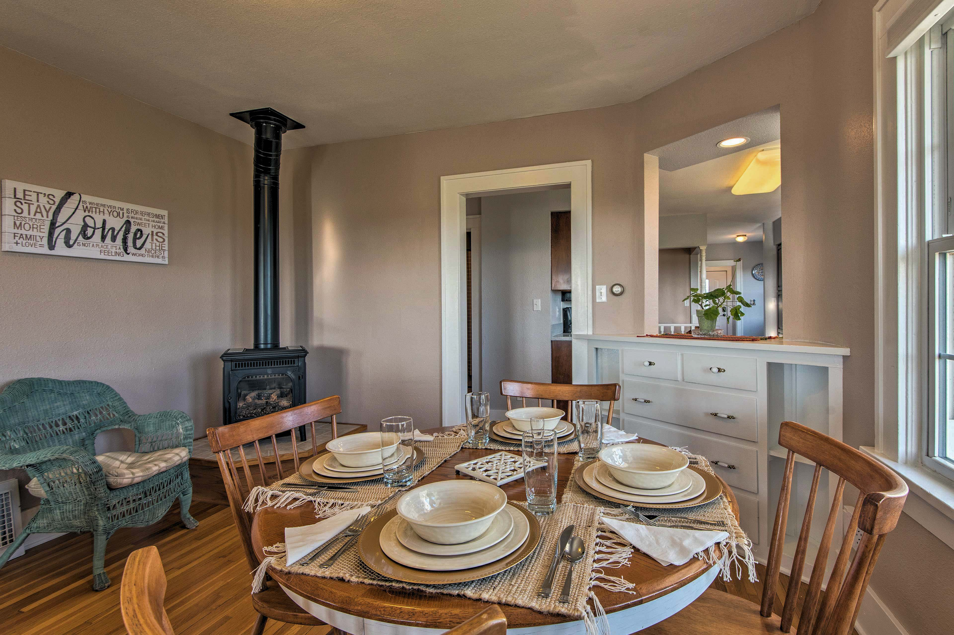 Enjoy more casual meals around the 4-person table.