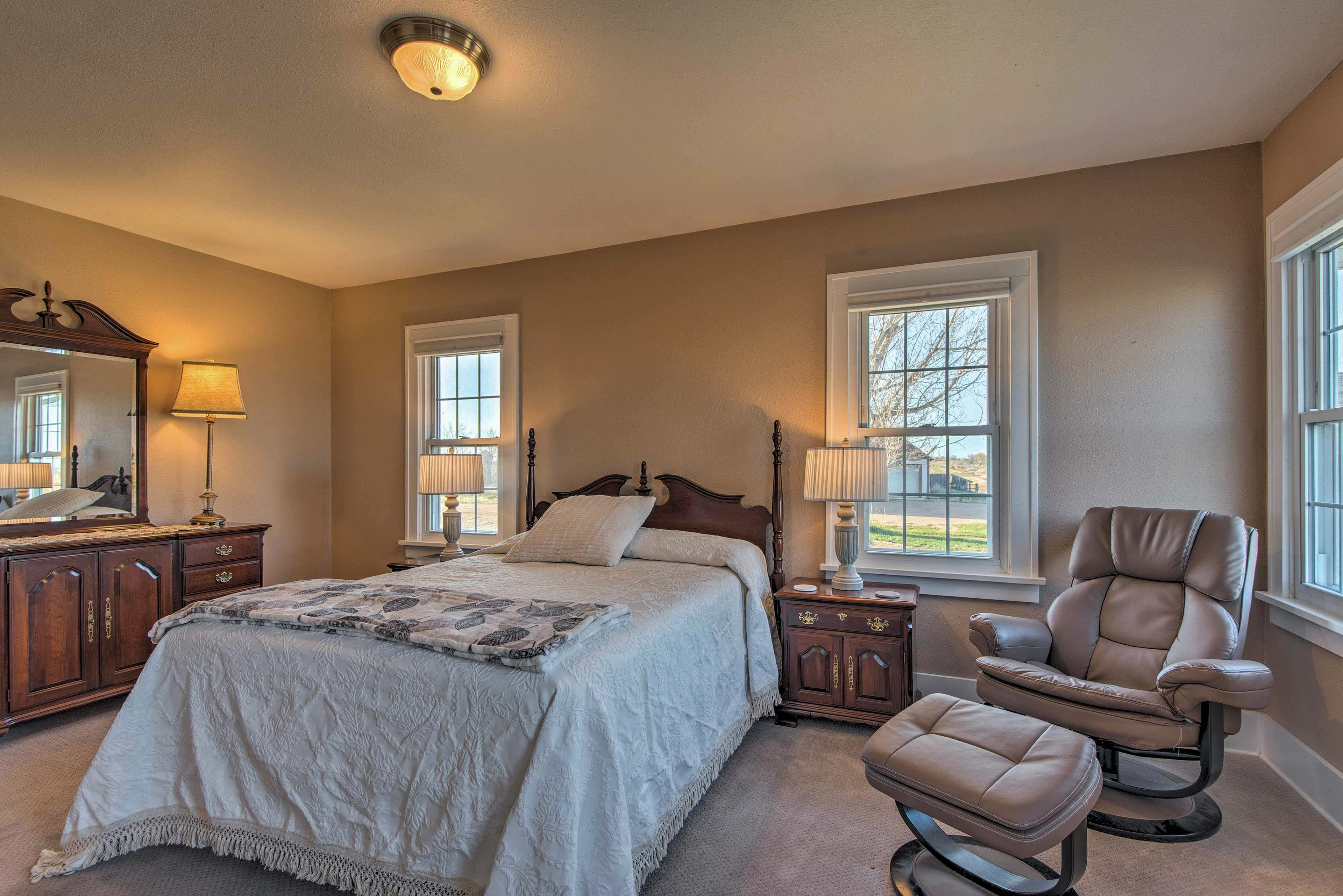 Take solace in the master bedroom for some privacy.