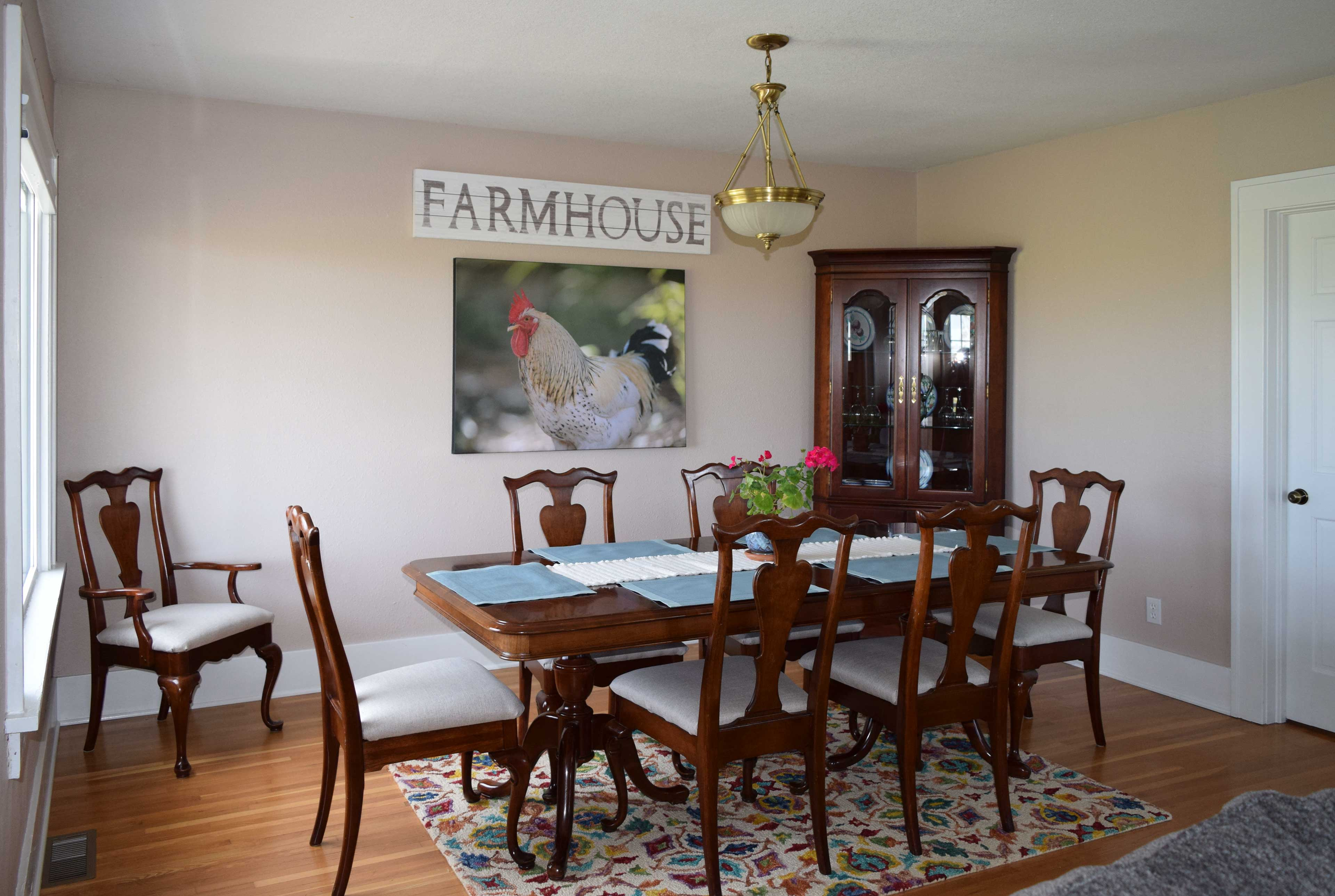 The formal dining area offers seating for 8 guests.