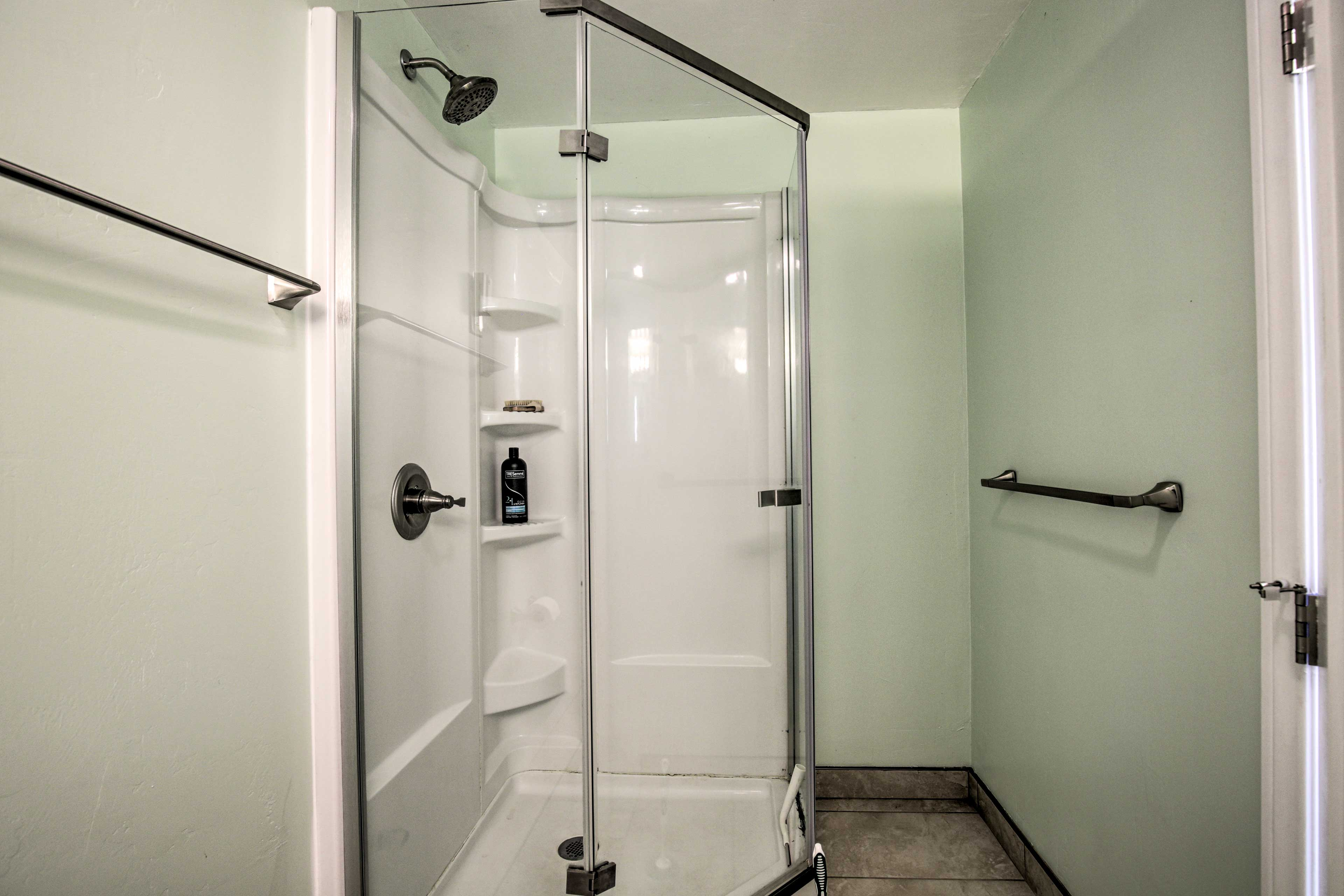 This bathroom was recently updated with a walk-in shower!