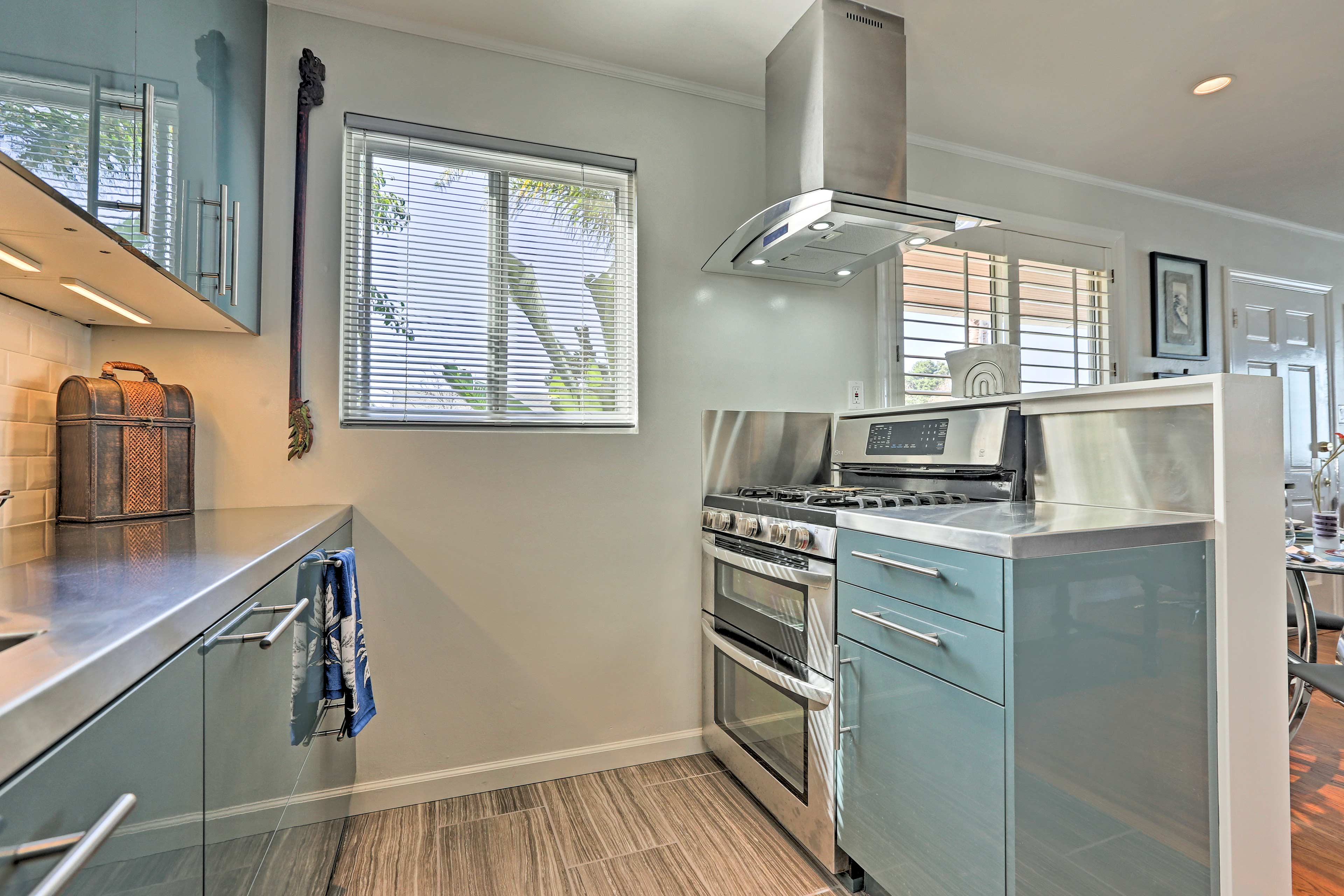 Essential appliances and ample counter space make home-cooking a breeze.