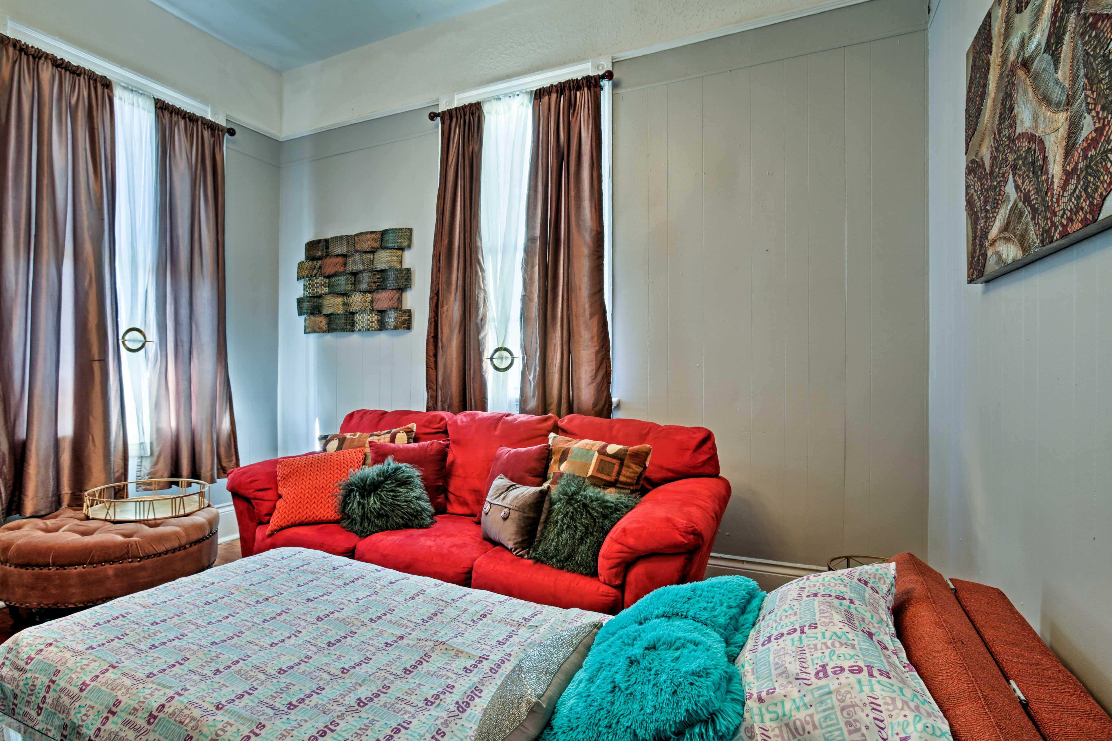 The home boasts impressive 12-foot ceilings.