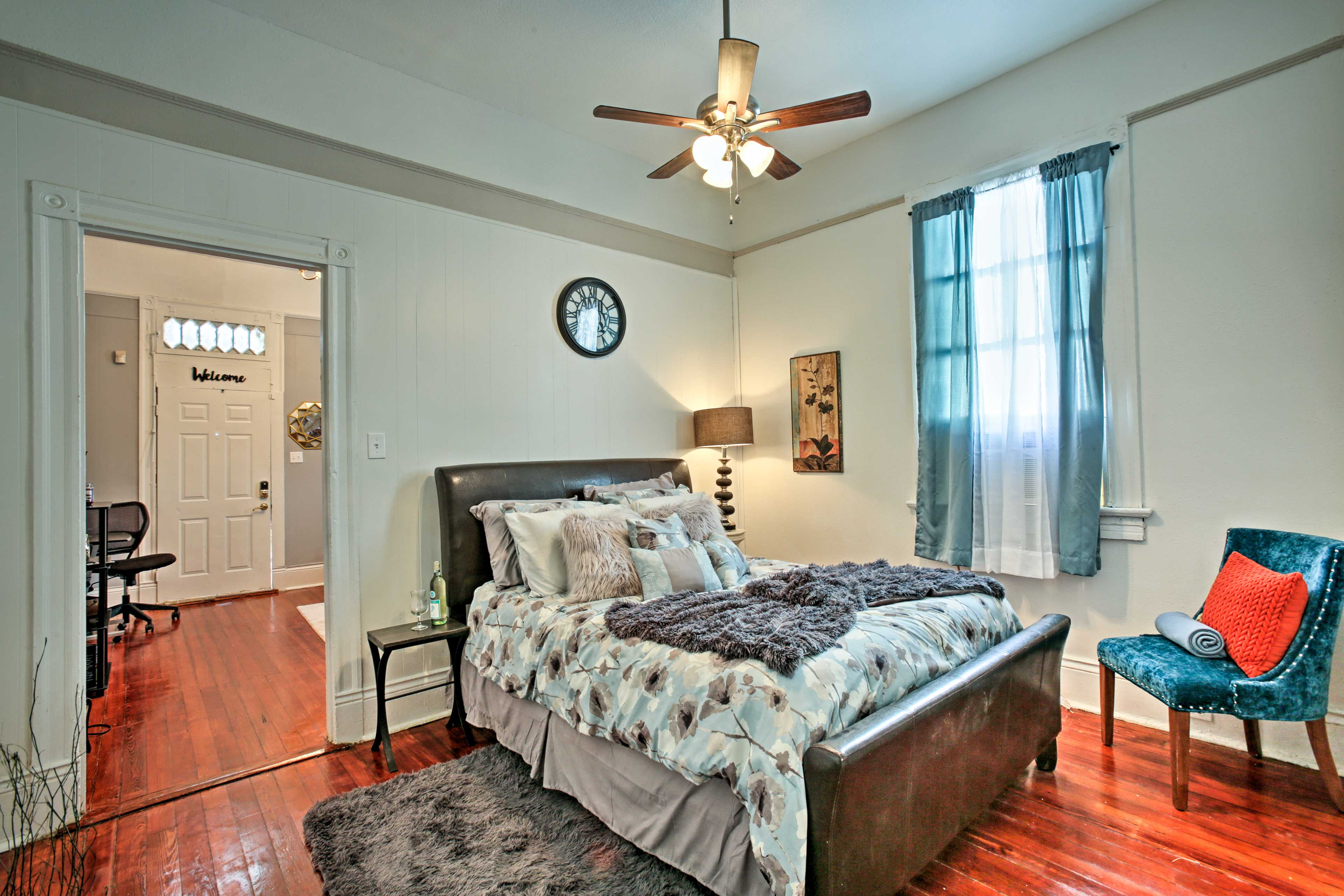 Step through the doorway into the first bedroom.