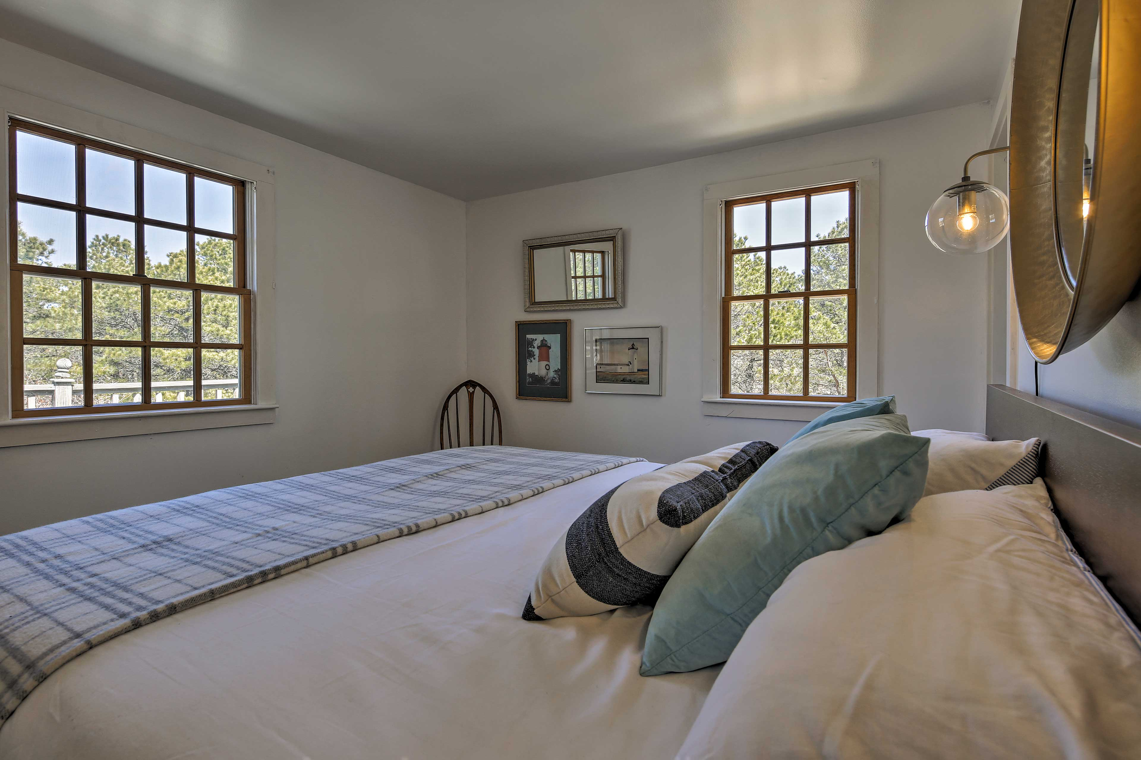 The master bedroom sleeps 2 travelers in a king-sized bed.