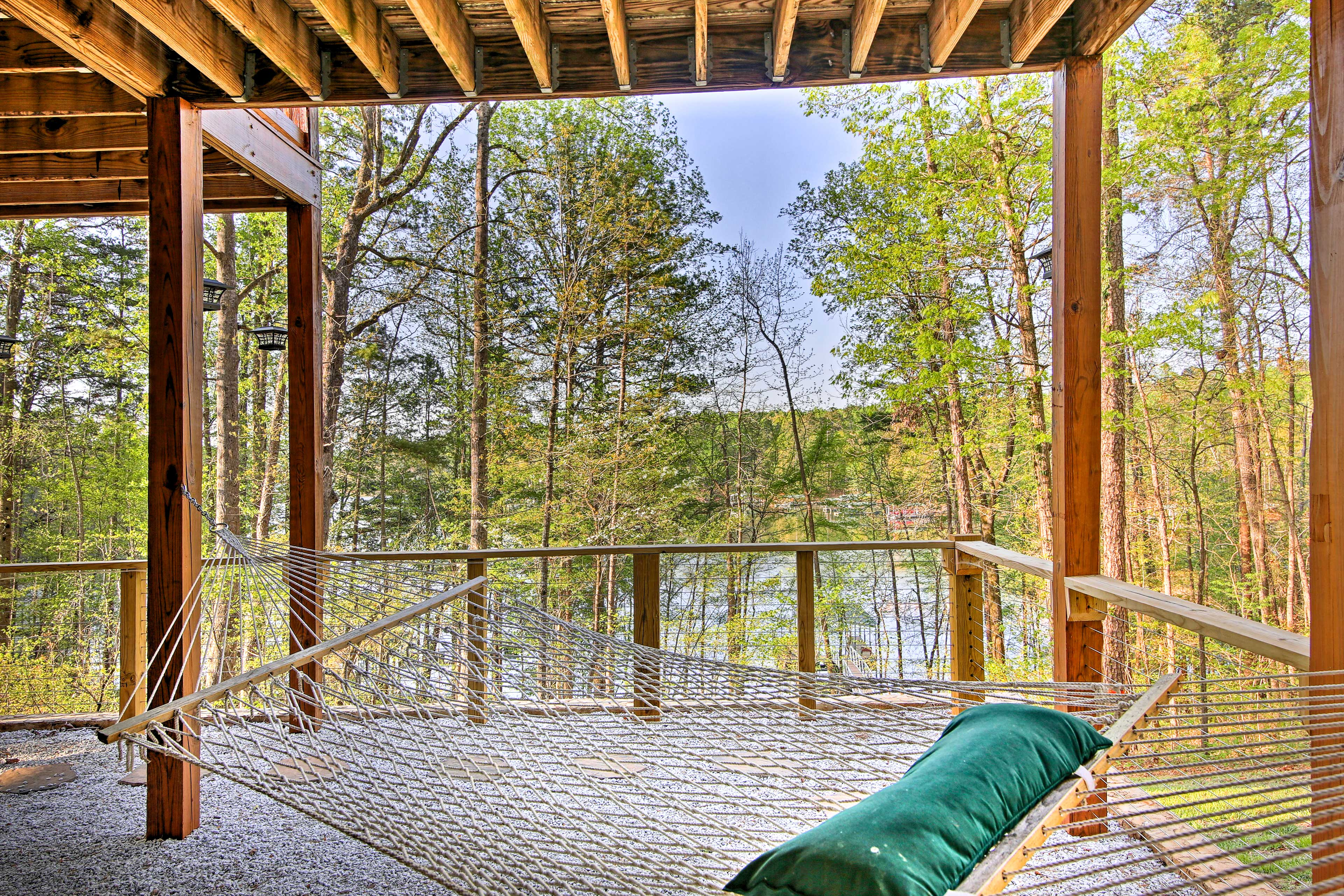 Let the sound of the lake lull you to sleep on the hammock.