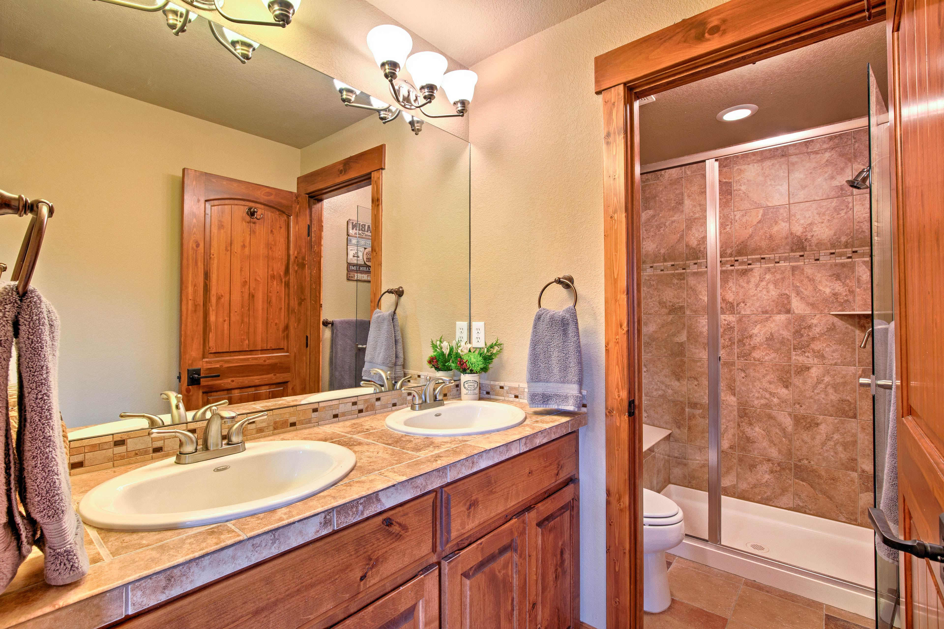 Rinse off after long hikes in the en-suite bathroom with a walk-in shower.