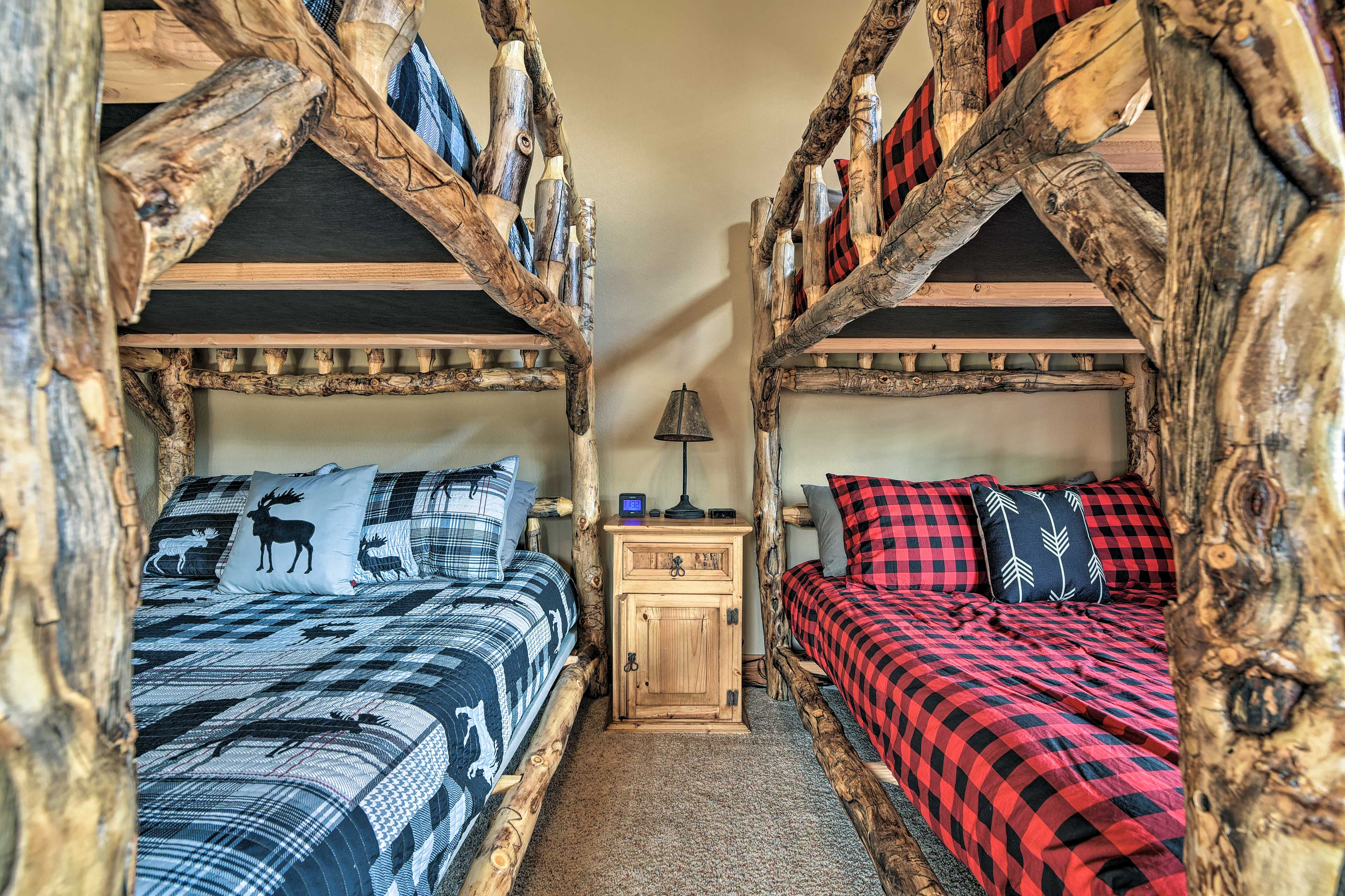 Built out of logs, these bunks are completely unique.