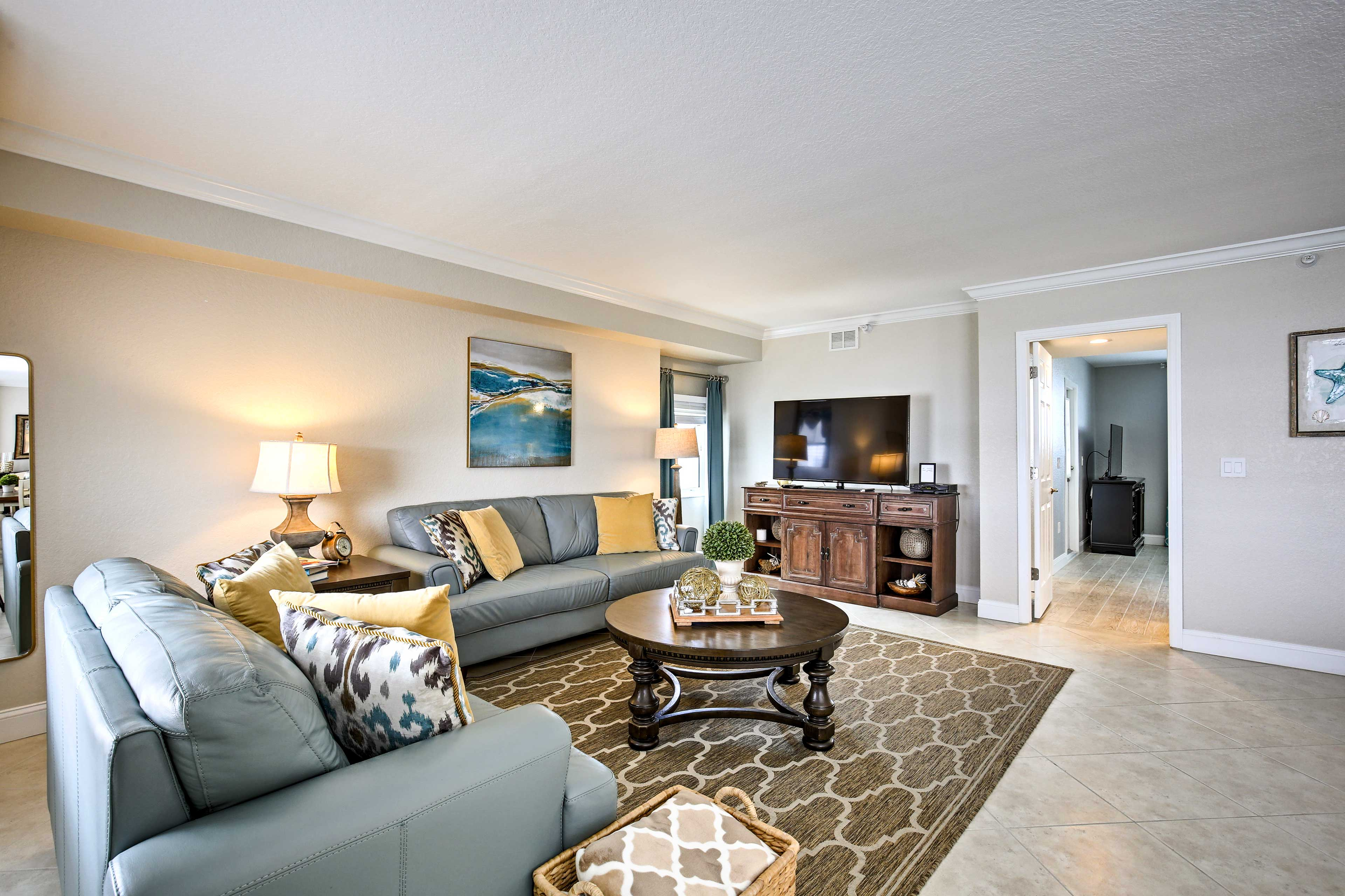 The interior is beautifully decorated with beach-themed accents and colors.
