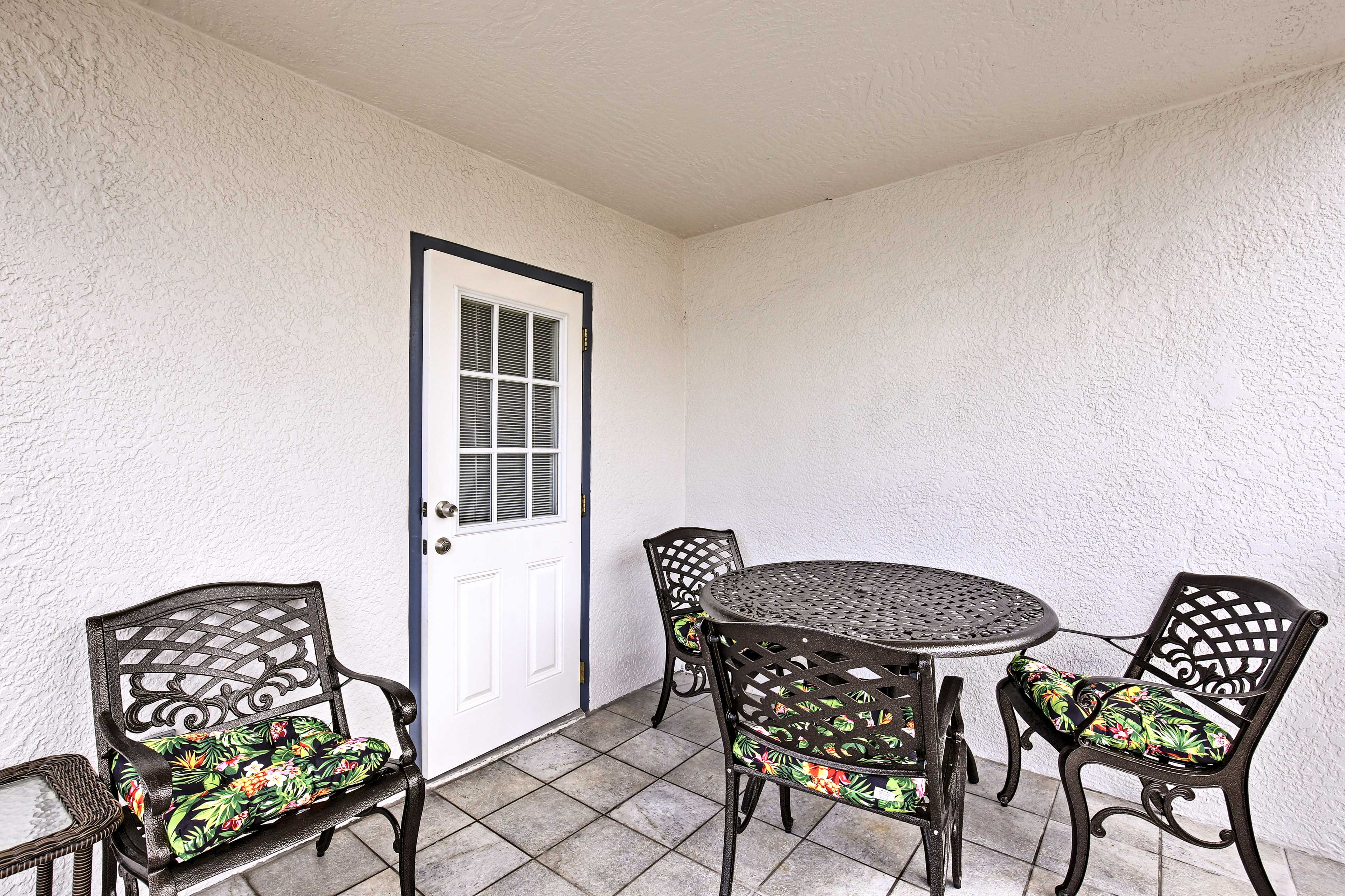 Meals alfresco are a must in this quaint outdoor space.