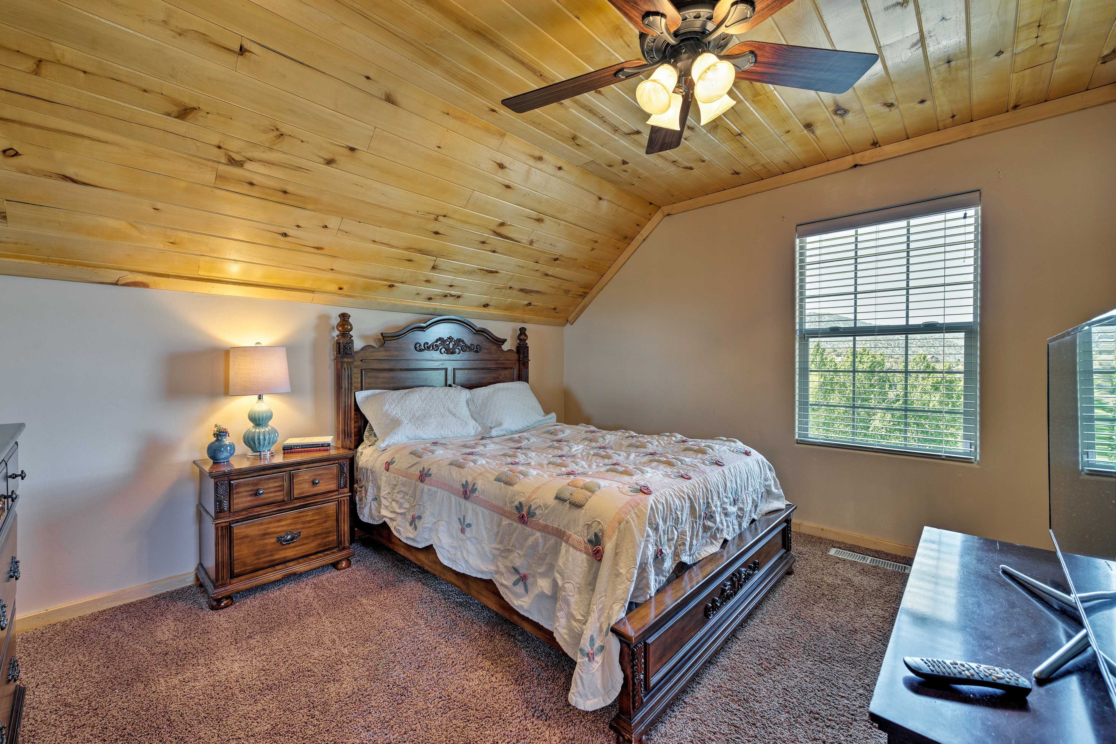 The second bedroom includes a queen bed as well.