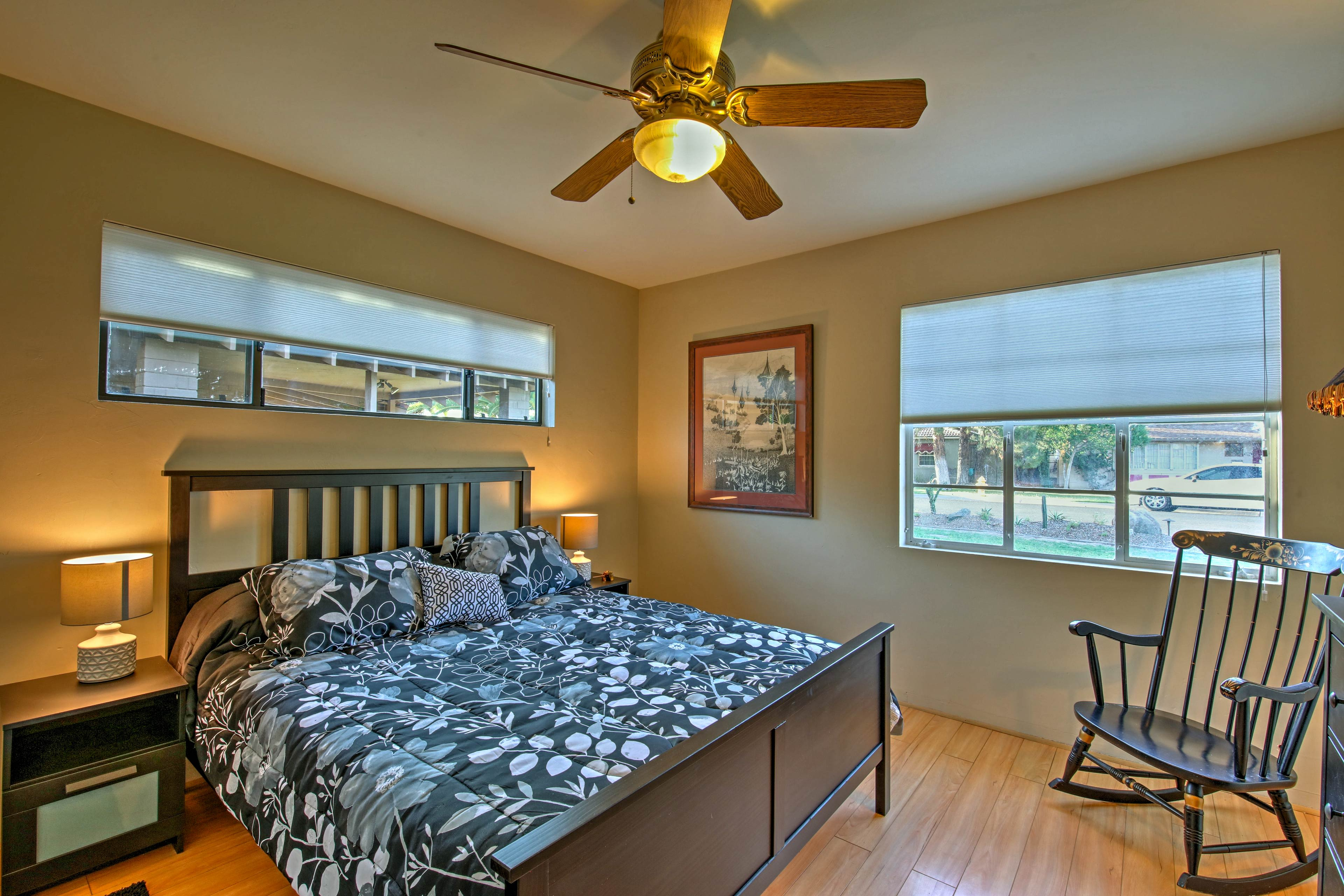 The final bedroom boasts a queen-sized bed.