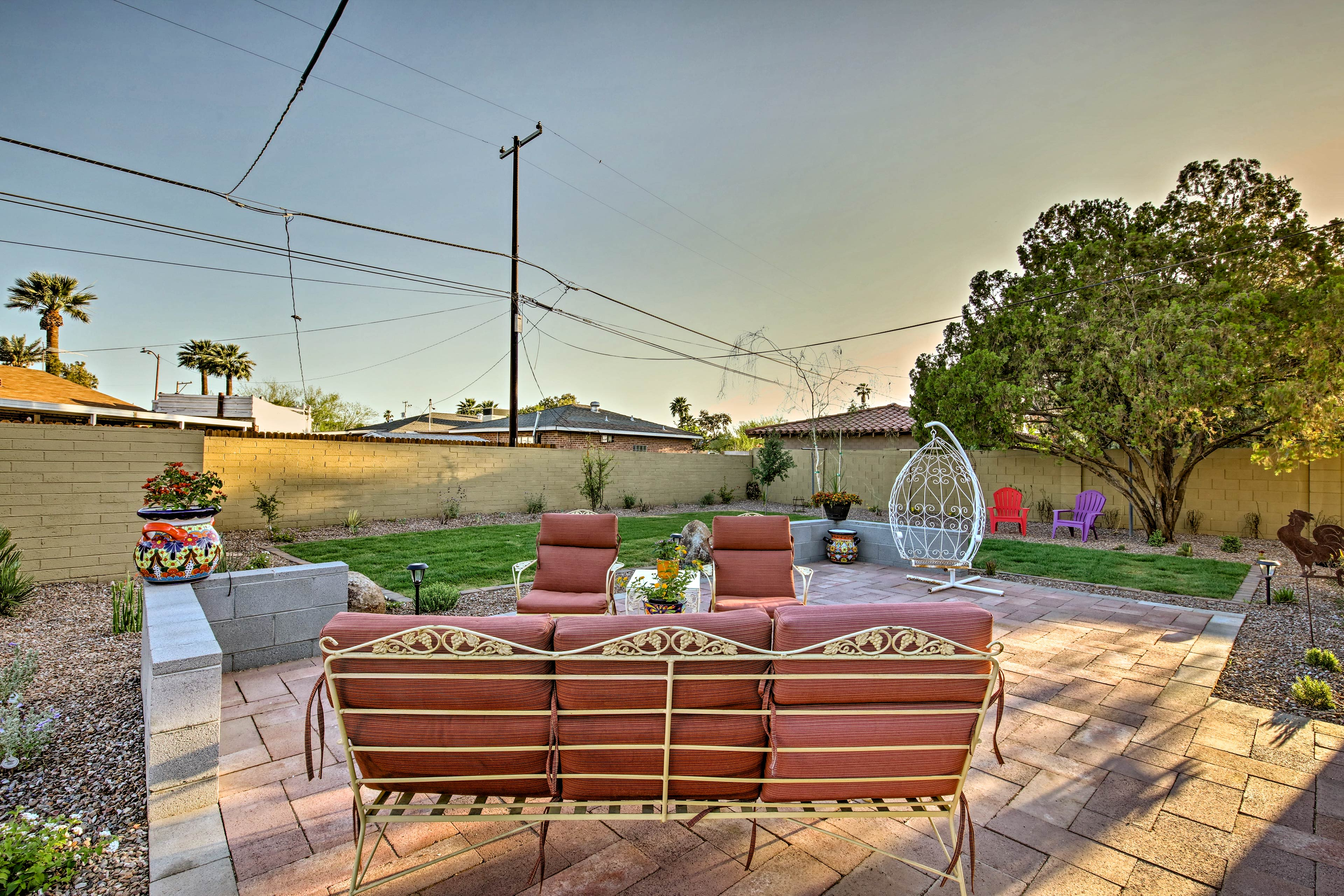 Lounge around on the outdoor furniture with loved ones.