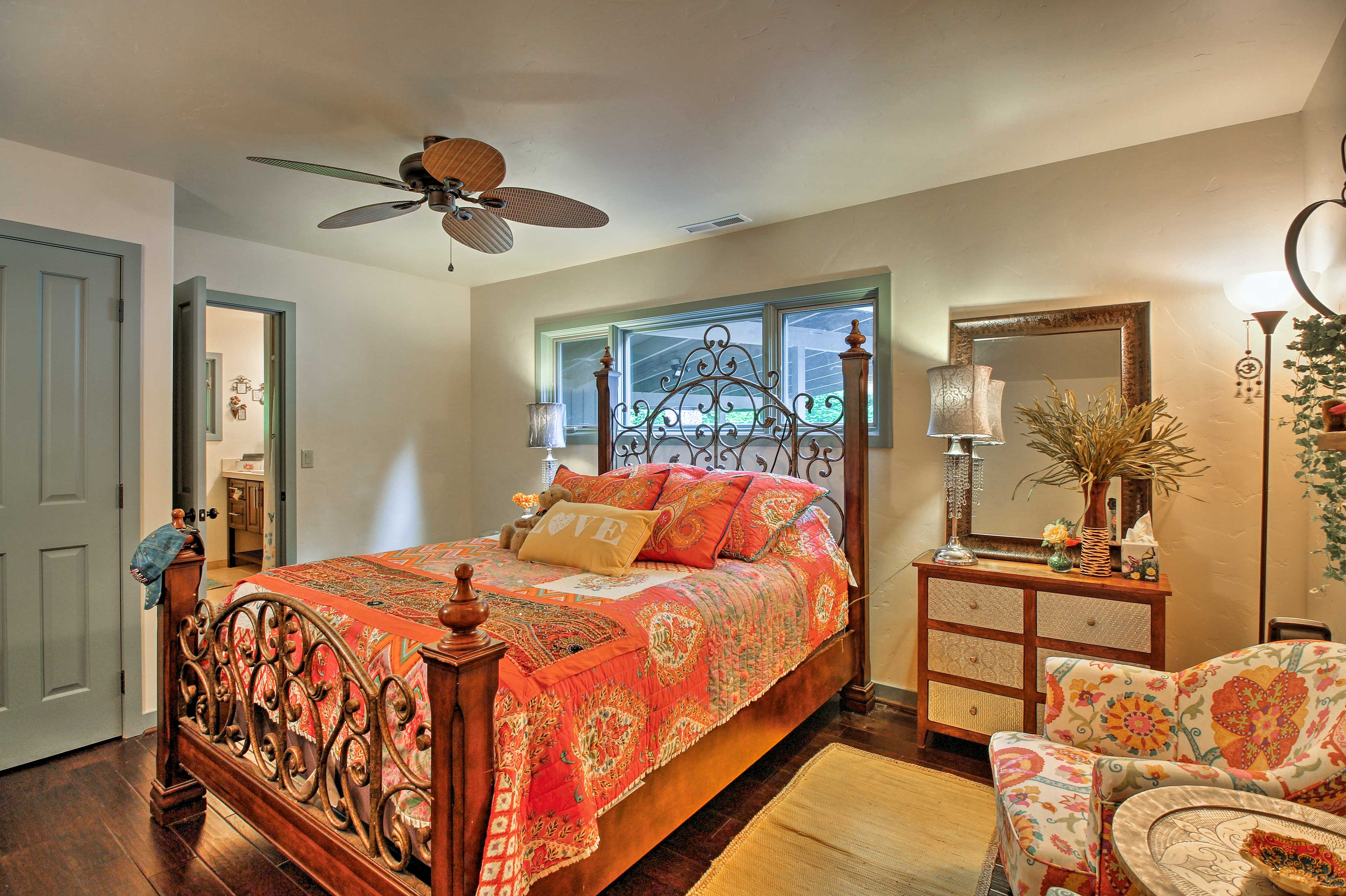 Retire for the night in this master suite.