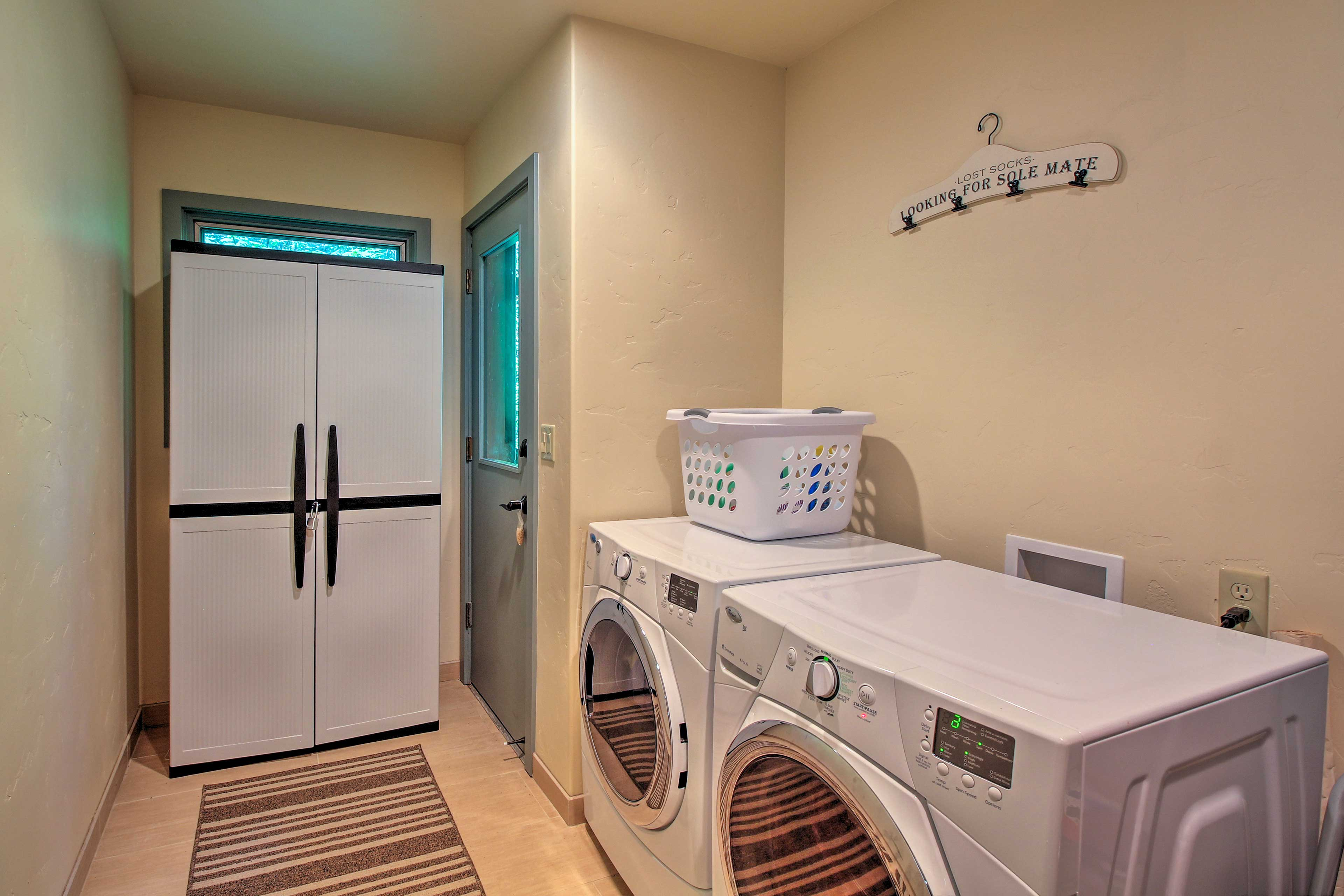 You don't have to pack that much thanks to the full washer and dryers!