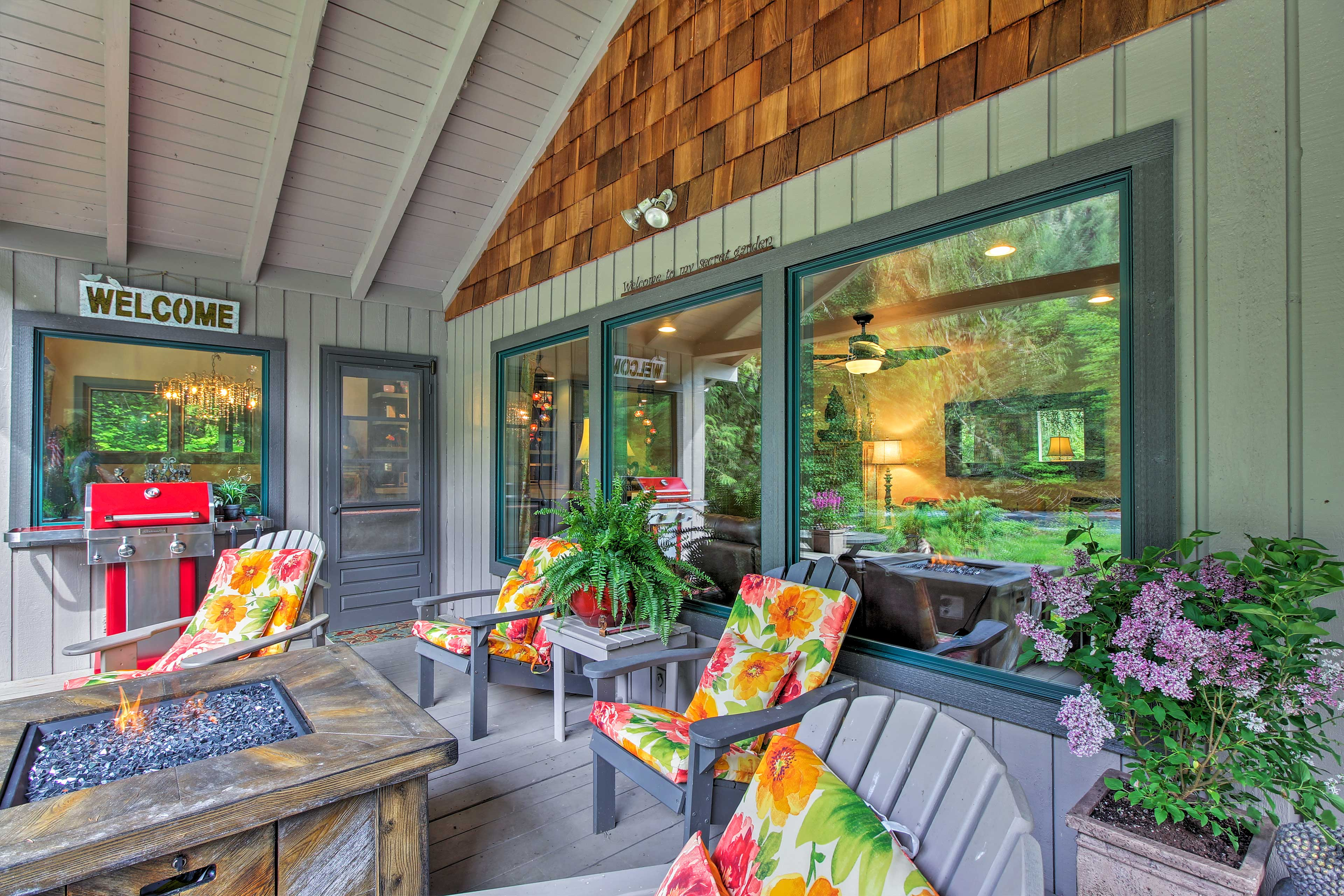 Brew a fresh pot of coffee and meander outside to the furnished porch.