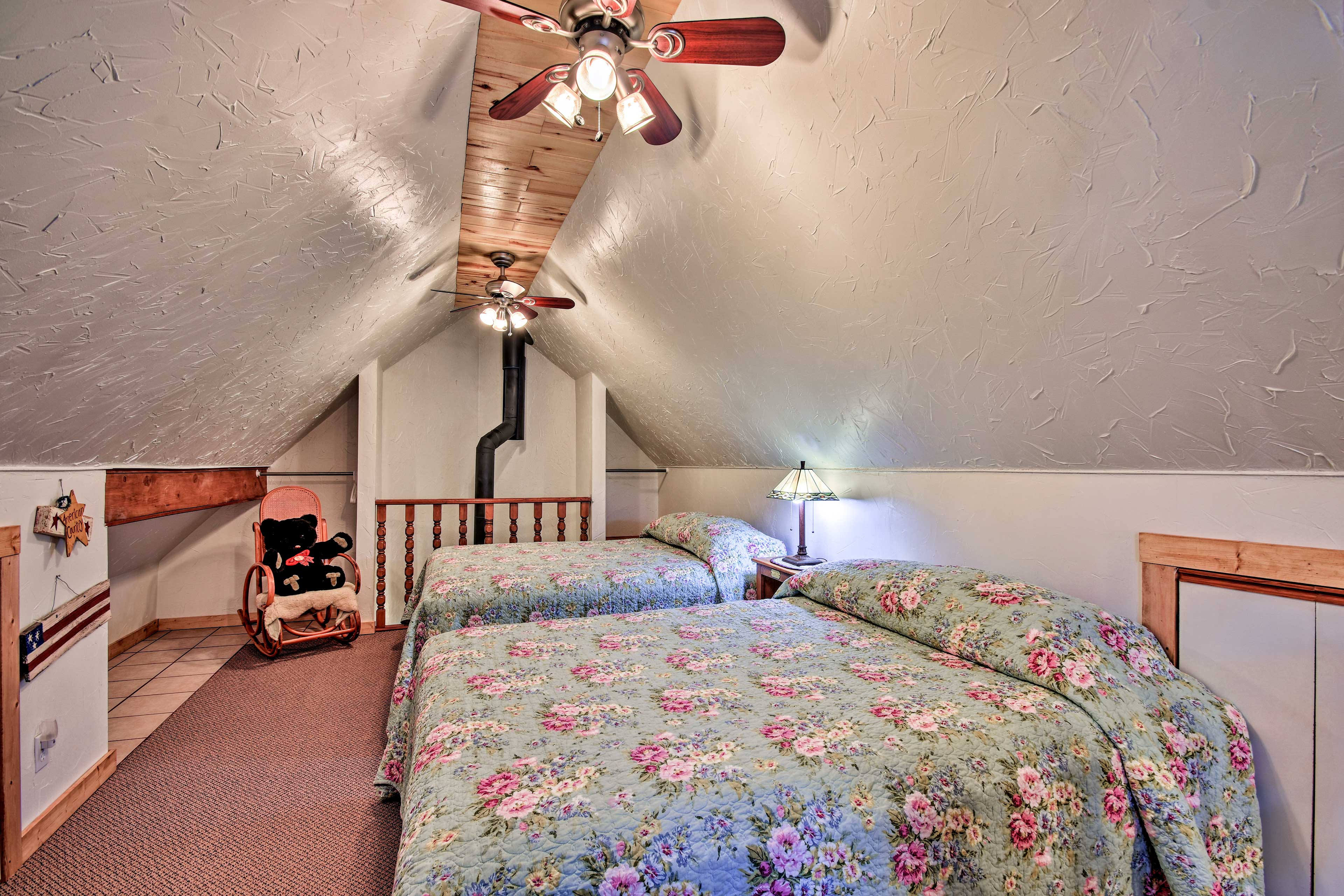 The loft offers added privacy and 2 queen beds.